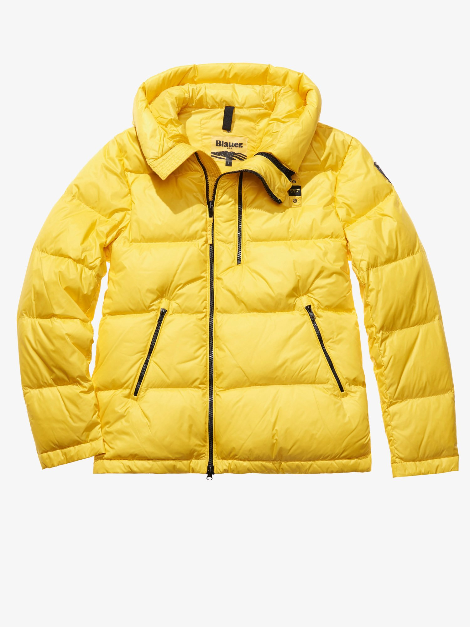 Blauer - GIACOMO MATTE DOWN JACKET WITH ASYMMETRIC ZIP - Acid Yellow - Blauer