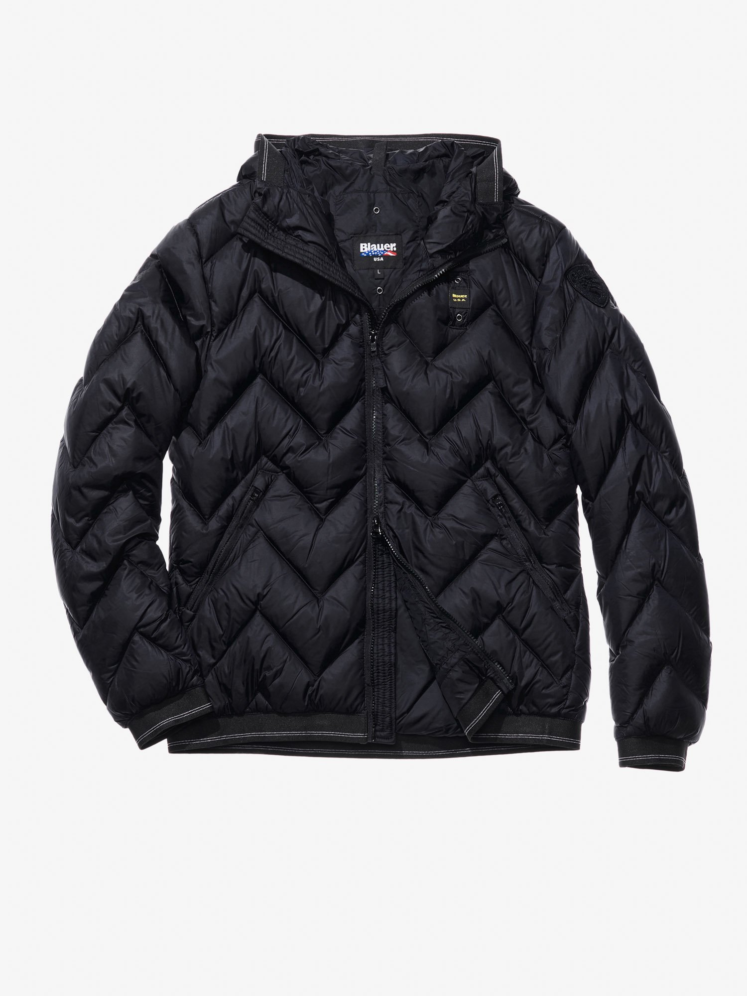 Blauer - JACOPO ZIG ZAG-QUILTED MILITARY-STYLE DOWN JACKET - Black - Blauer