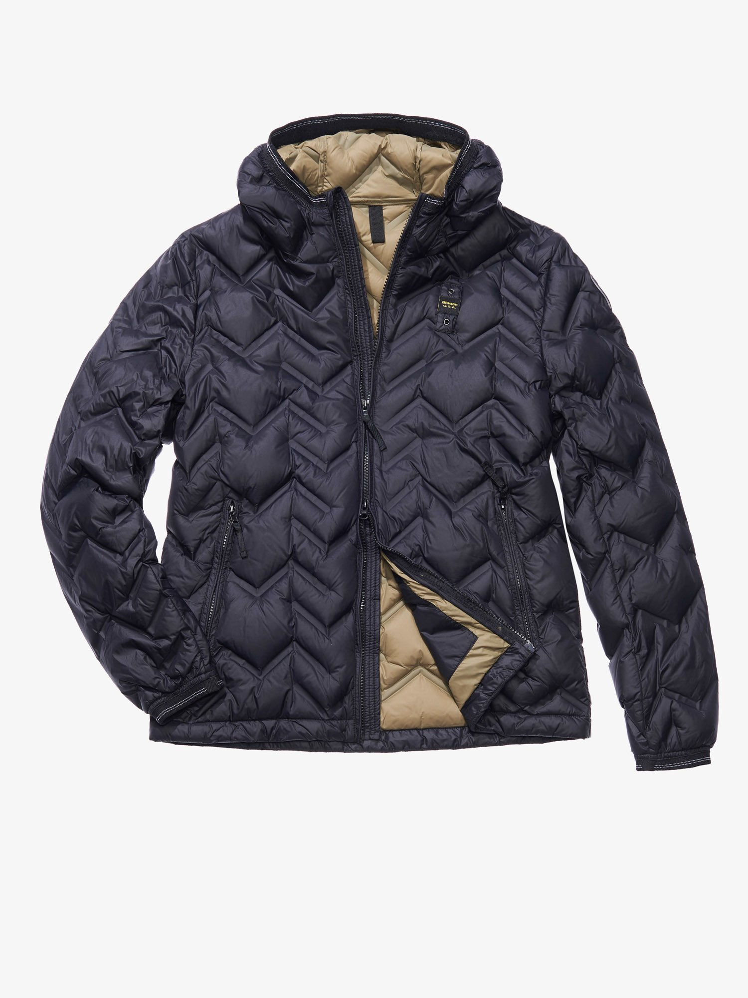 Blauer - GIULIO ZIG ZAG-QUILTED JACKET WITH DUCK DOWN FILL - Black - Blauer