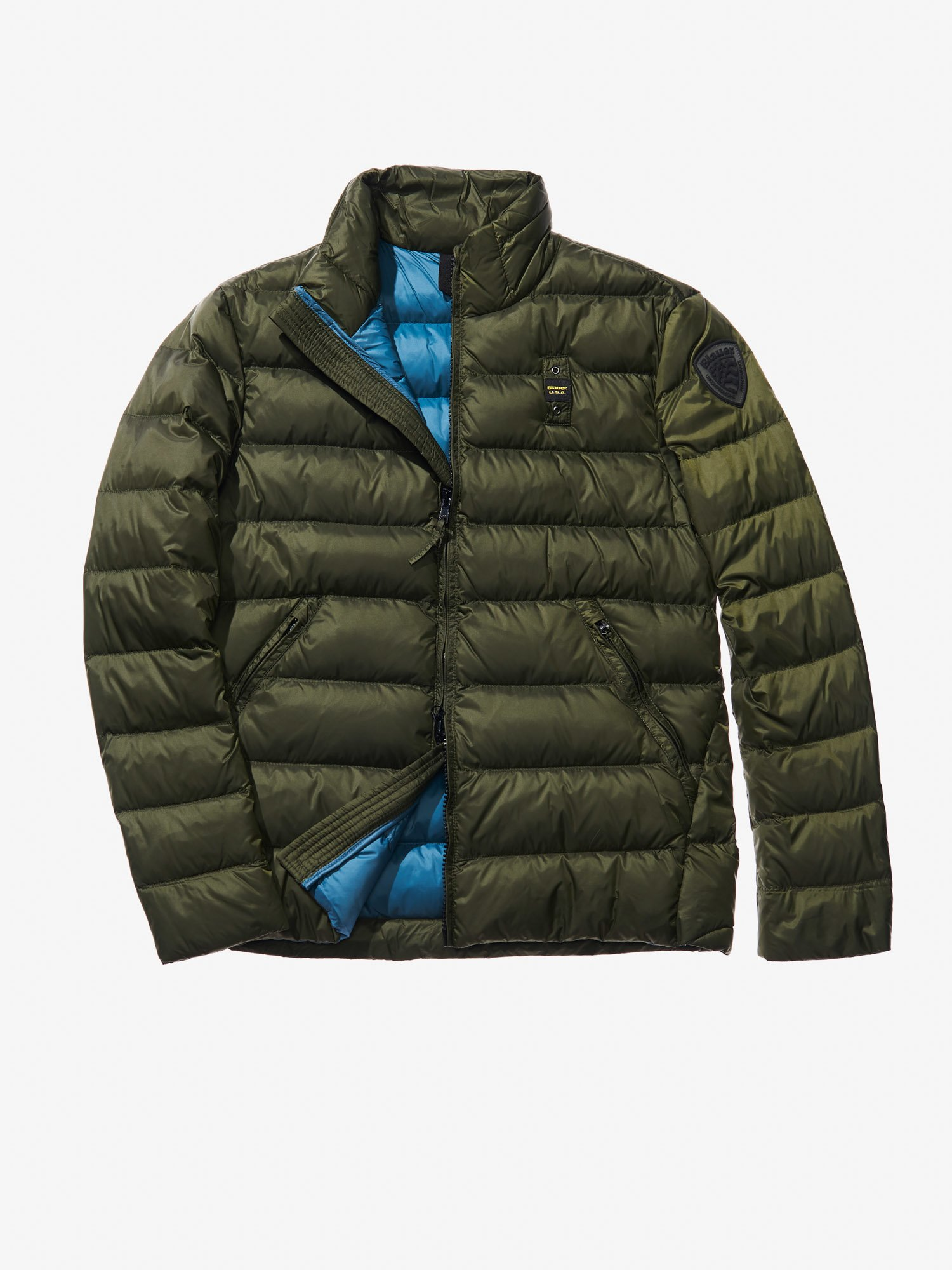 Blauer - LUCA SHORT JACKET WITH DUCK DOWN FILL - Alga Kombu Inside Green Hydro - Blauer