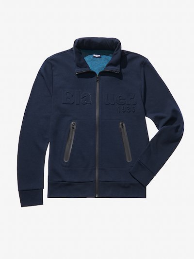 OPEN SWEATSHIRT WITH COATED ZIP