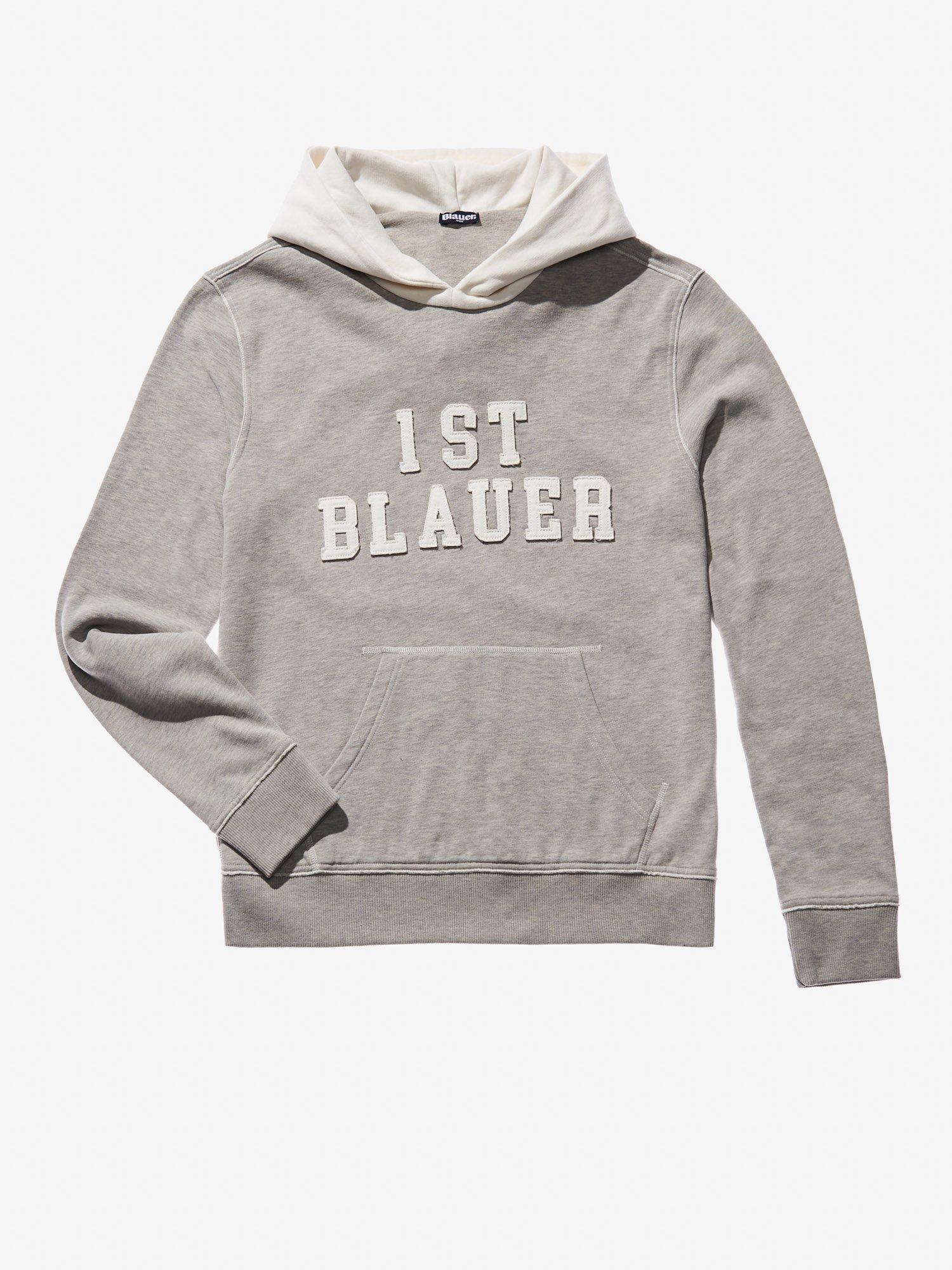 Blauer - SUDADERA CUELLO REDONDO CON BOLSILLO CANGURO - Melange Off White - Blauer