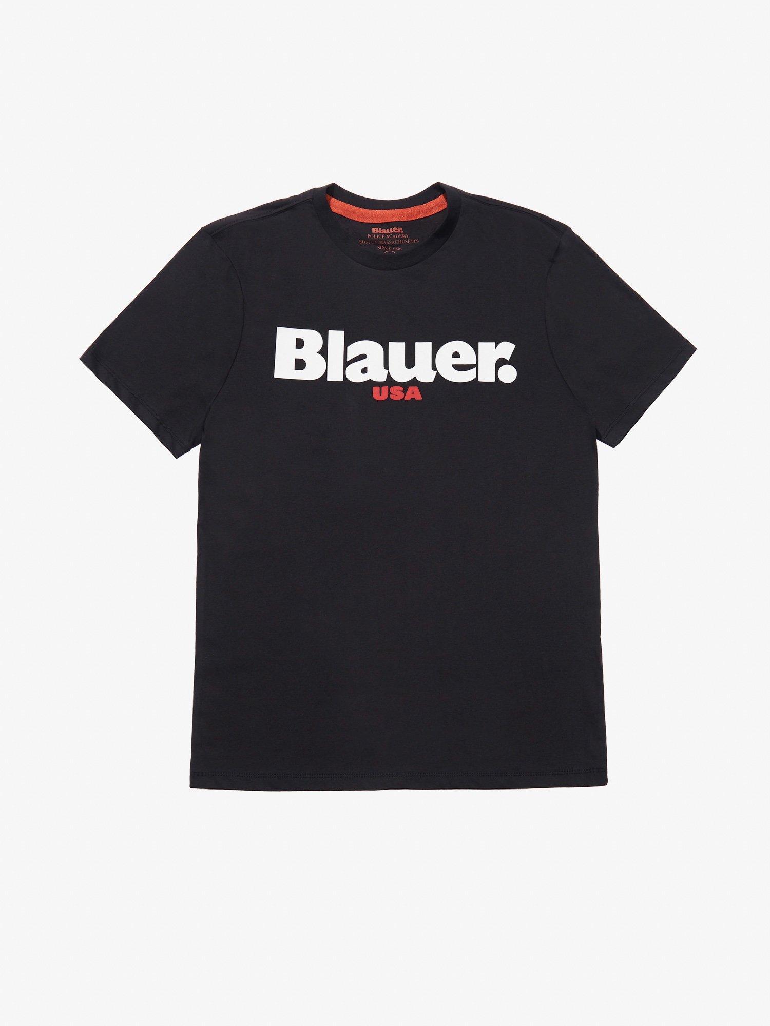 T-SHIRT CARBON WASHED BLAUER USA - Nero - Blauer