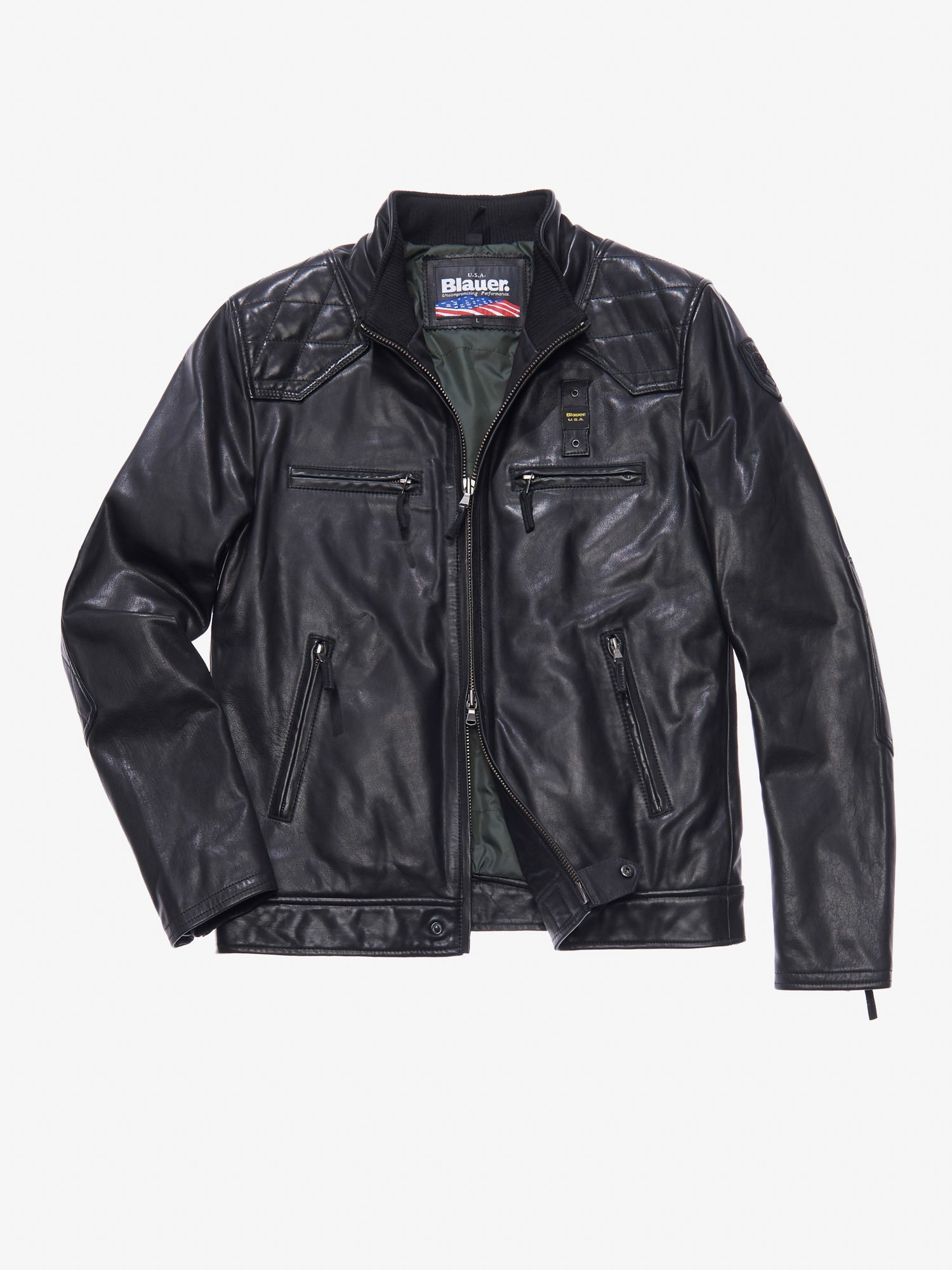 GIANLUCA FOUR-POCKET LEATHER JACKET - Blauer