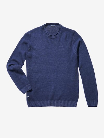 CREW NECK GARMENT DYED WOOL-BLEND SWEATER