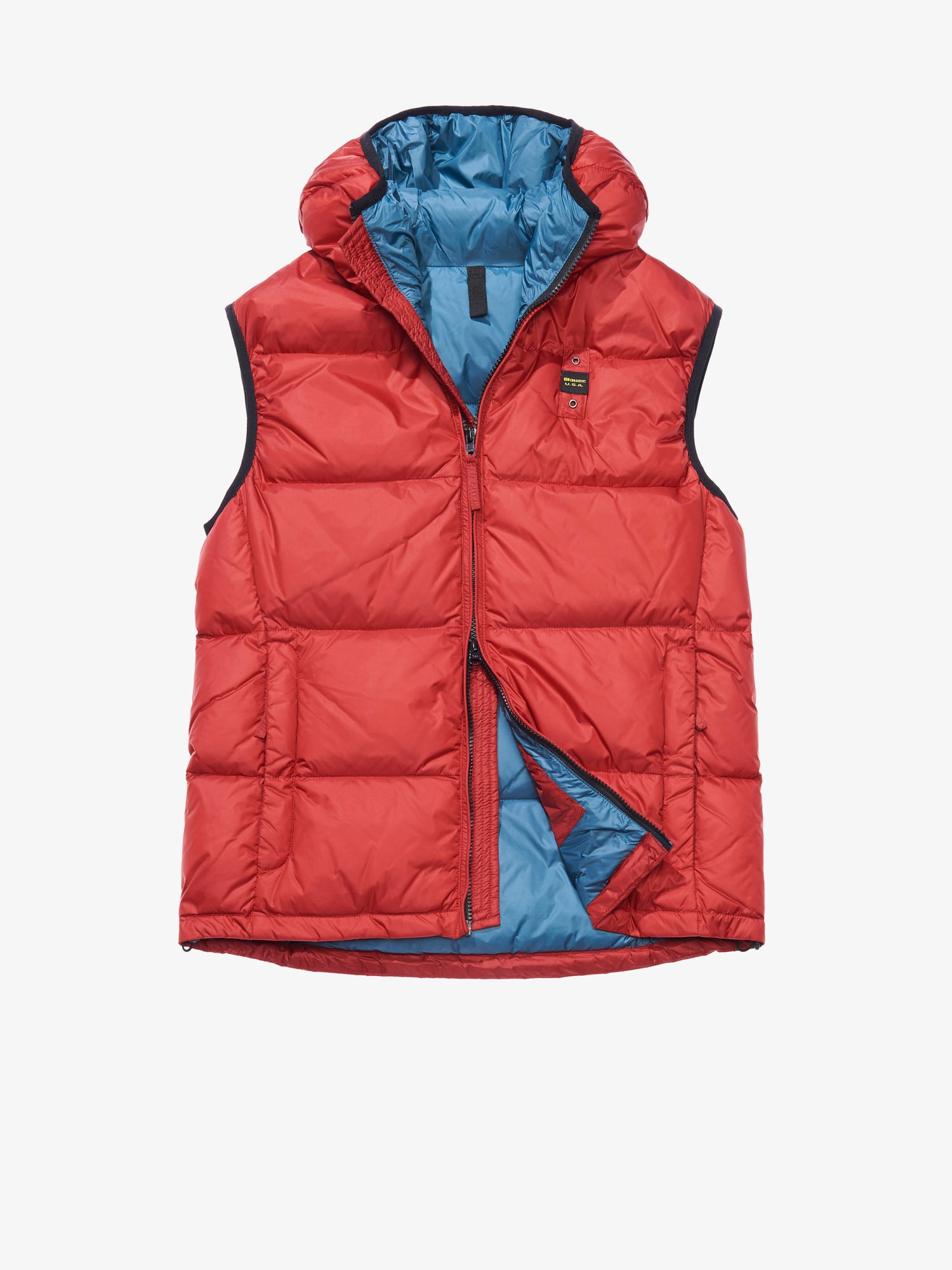 Blauer - LUIGI HOODED DOWN VEST - Blood Red Inside Green Hydro - Blauer