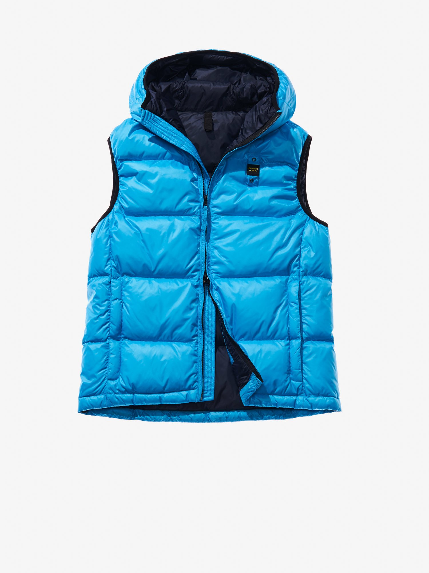 Blauer - LUIGI HOODED DOWN VEST - Aquarius Blue Inside Blue - Blauer