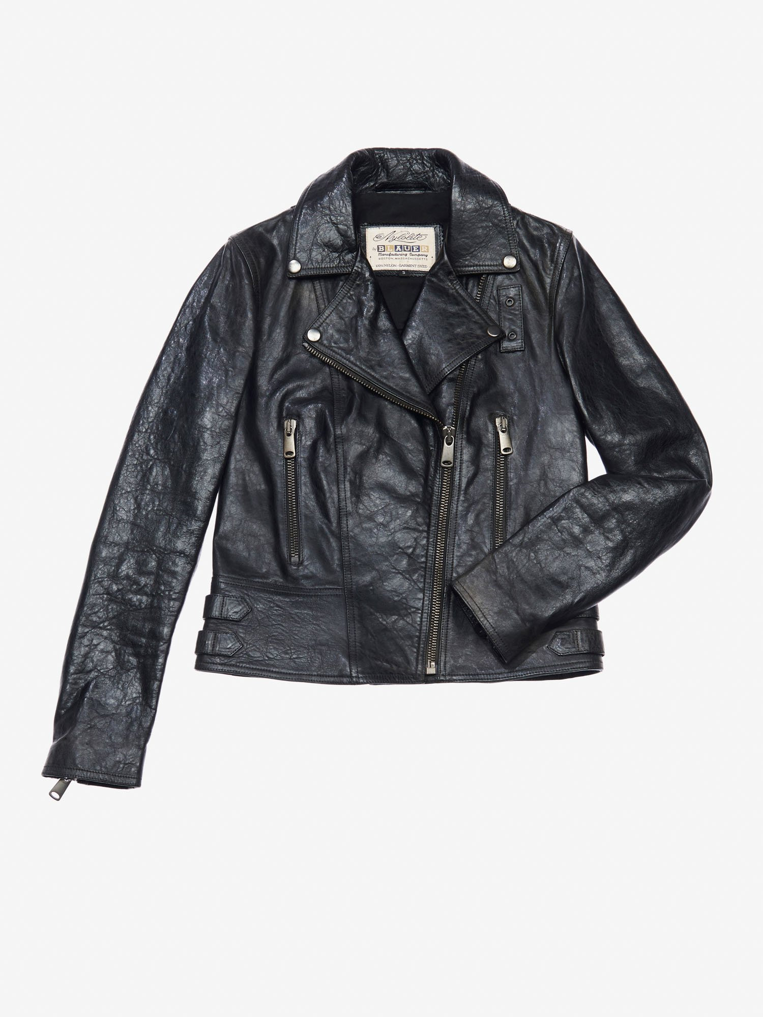 Blauer - DISTRESSED LEATHER BIKER JACKET - Black - Blauer