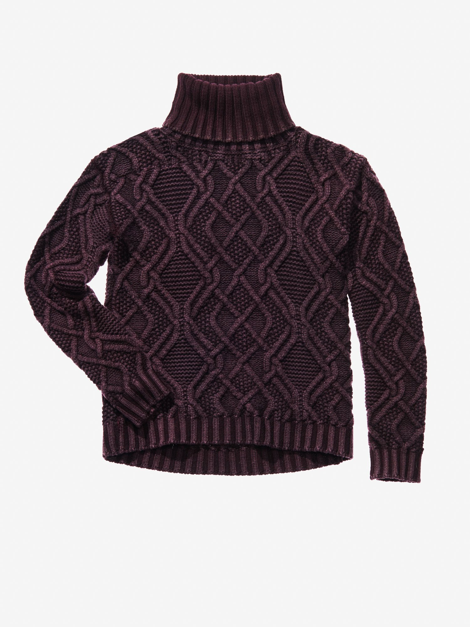 TURTLENECK CHUNKY CABLE KNIT JUMPER - Blauer