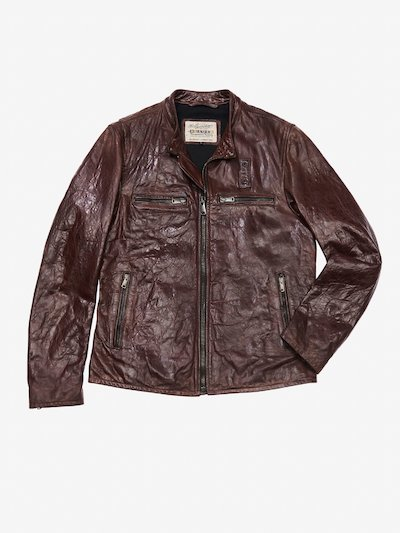 DISTRESSED MOTORCYCLE LEATHER JACKET