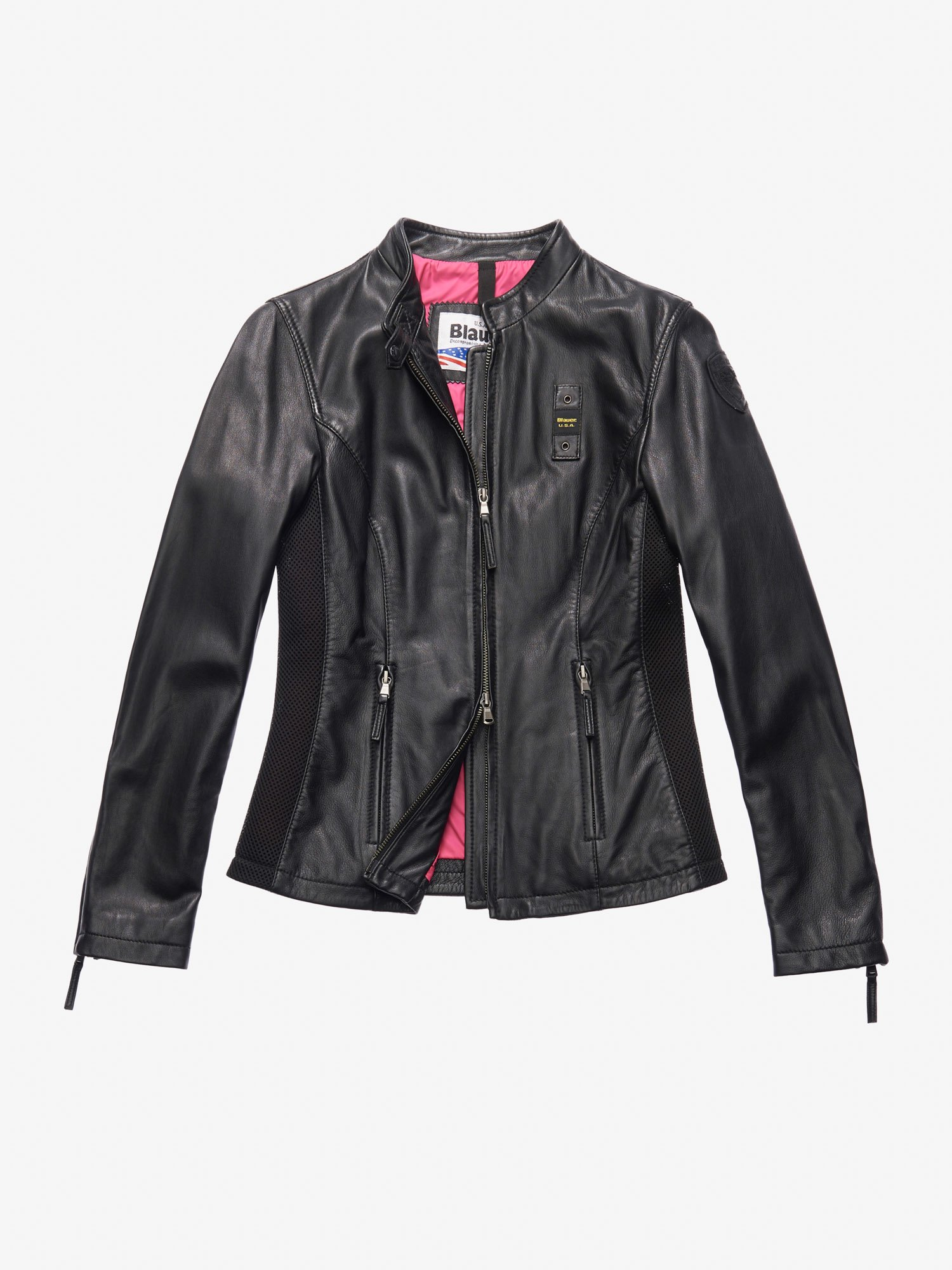 TAYLOR LEATHER BIKER-STYLE JACKET - Blauer