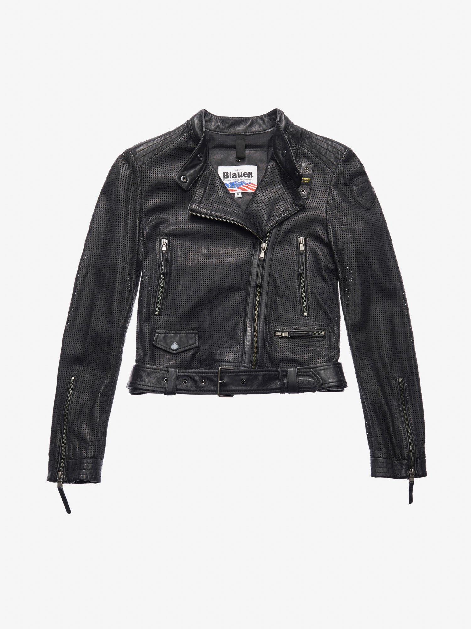 43ed31e7b938 Blauer - MOORE PERFORATED BIKER-STYLE JACKET - Black - 1 ...