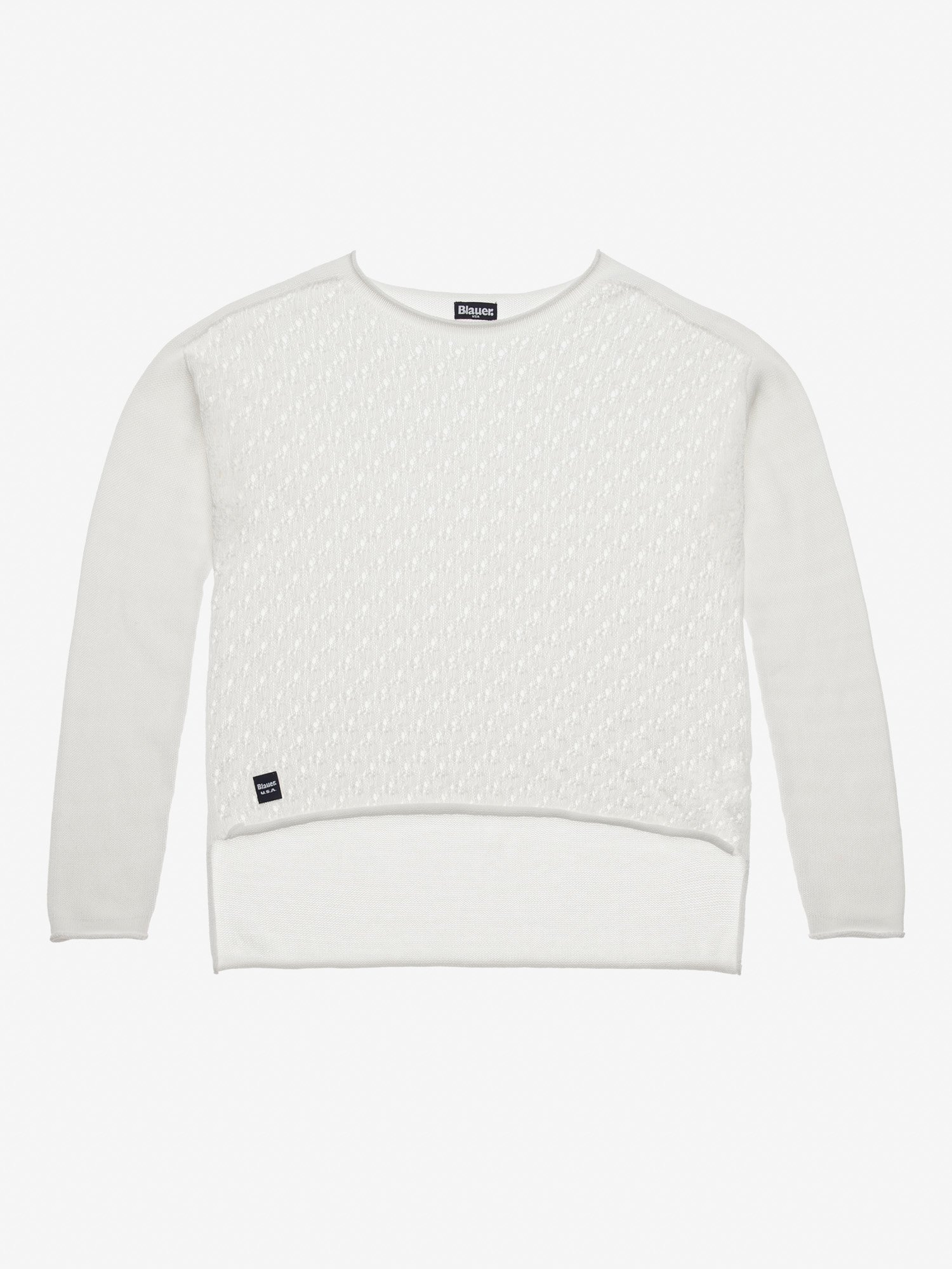 Blauer - SWEATER WITH OPEN KNIT IN FRONT - Ivory - Blauer