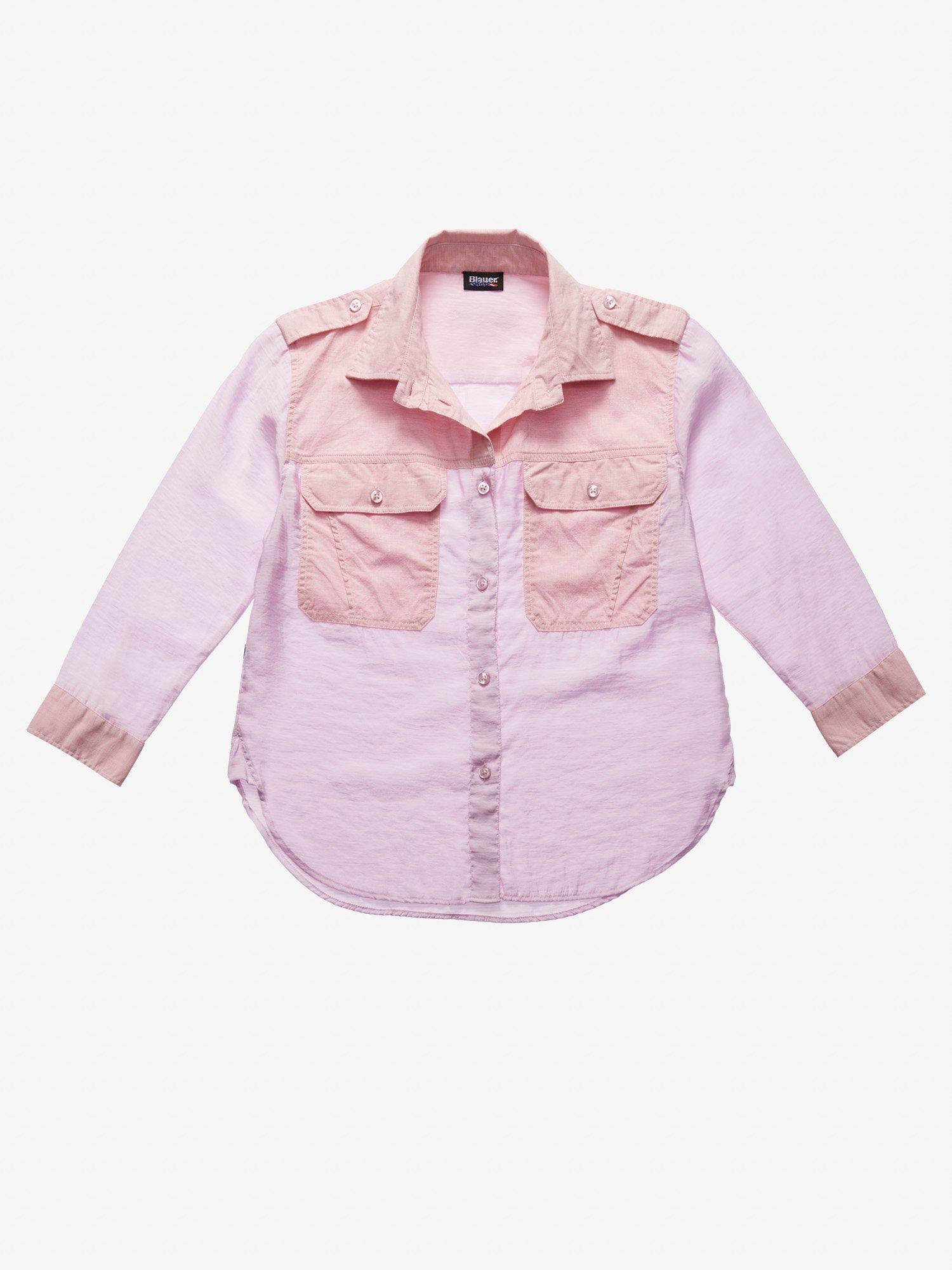 Blauer - WOMEN'S TONE-ON-TONE BICOLOUR SHIRT - Pink Pastel - Blauer