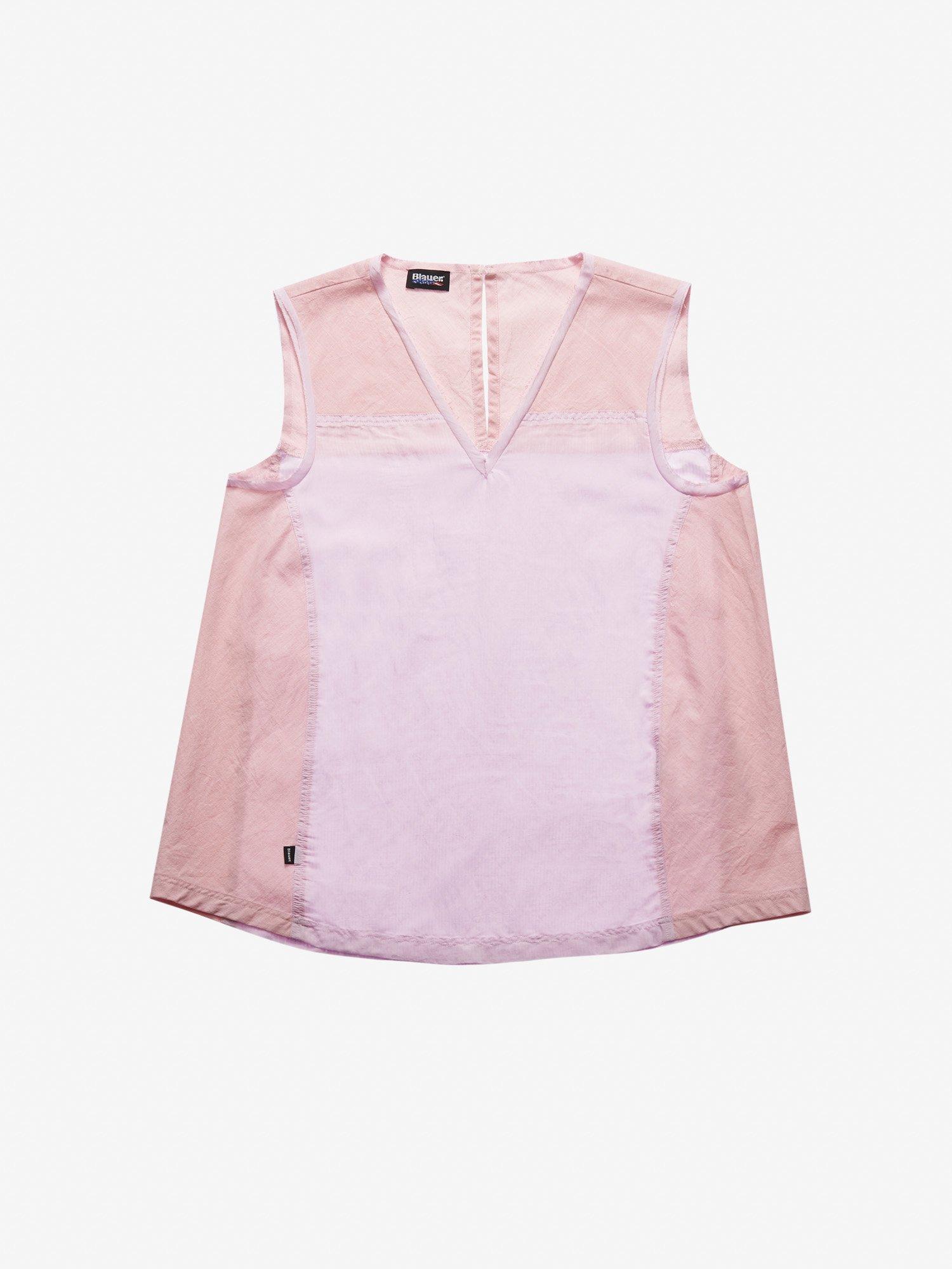 Blauer - ÄRMELLOSE BLUSE ZWEIFARBIG - Pink Pastel - Blauer