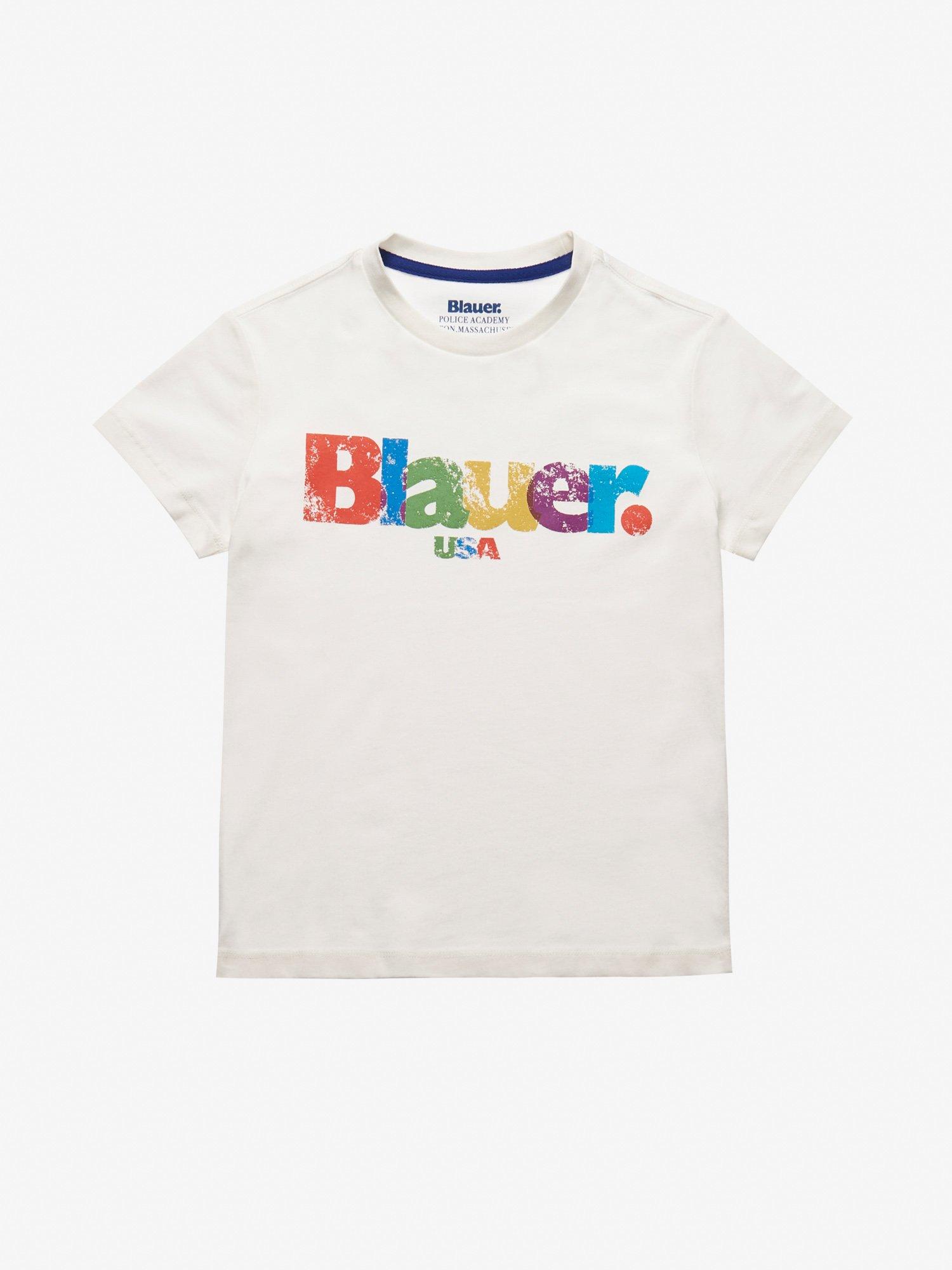 Blauer - JUNIOR MULTICOLOR BLAUER T-SHIRT - Ivory - Blauer