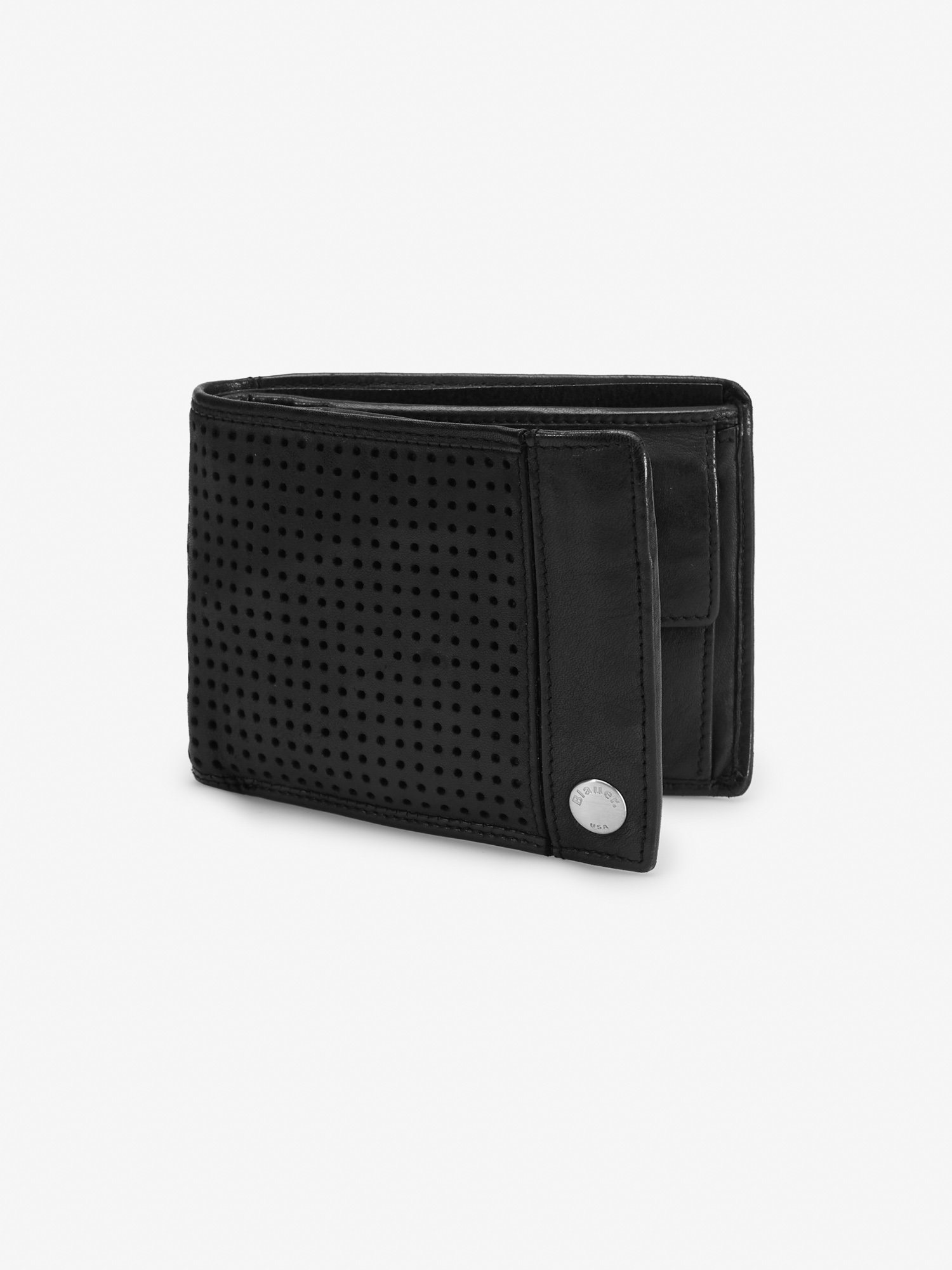 PERFORATED CALFSKIN WALLET WITH COIN PURSE - Blauer