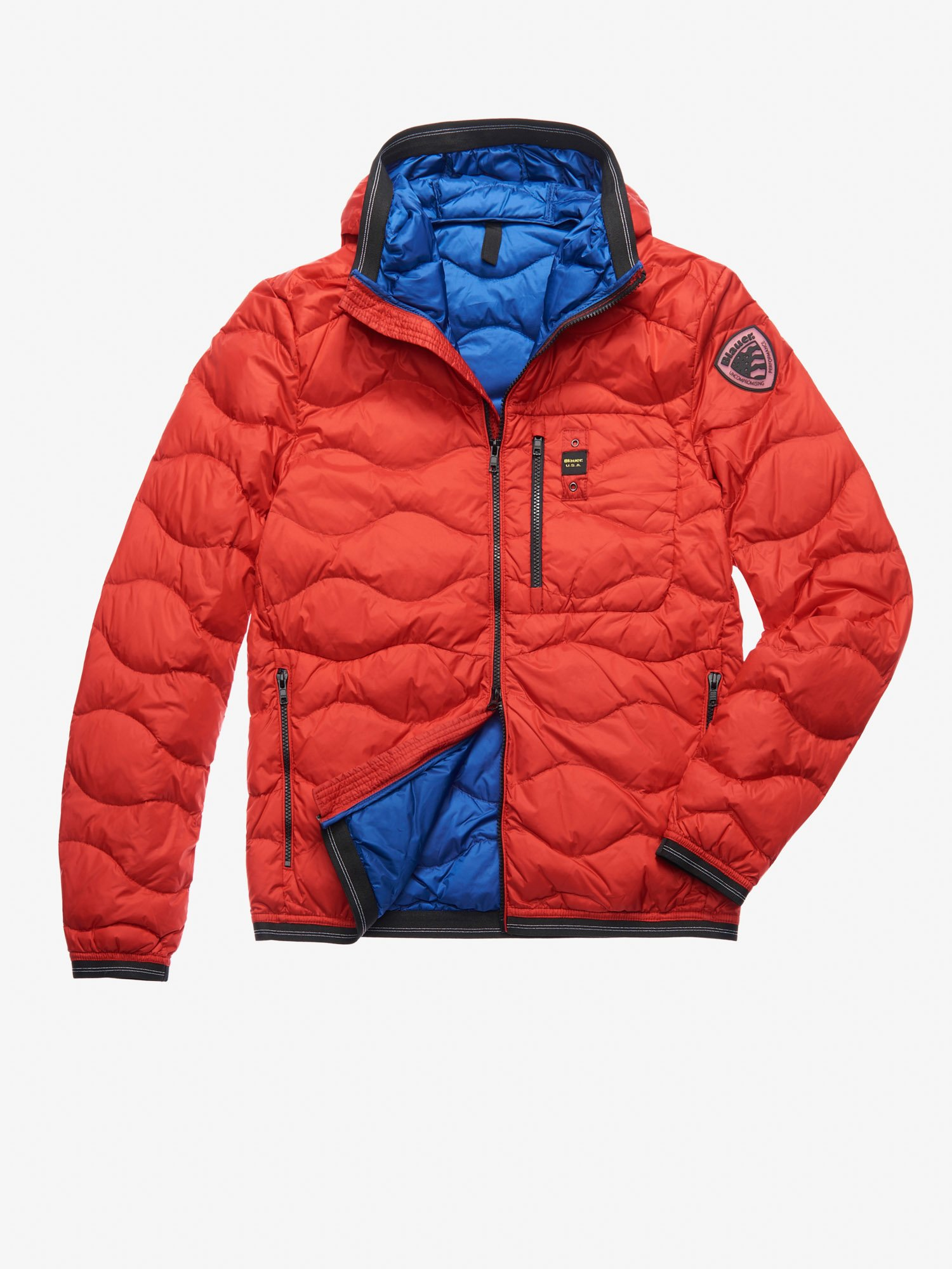 Blauer - KING WAVE-QUILTED DOWN JACKET - Ginger Red Ins. Blue - Blauer