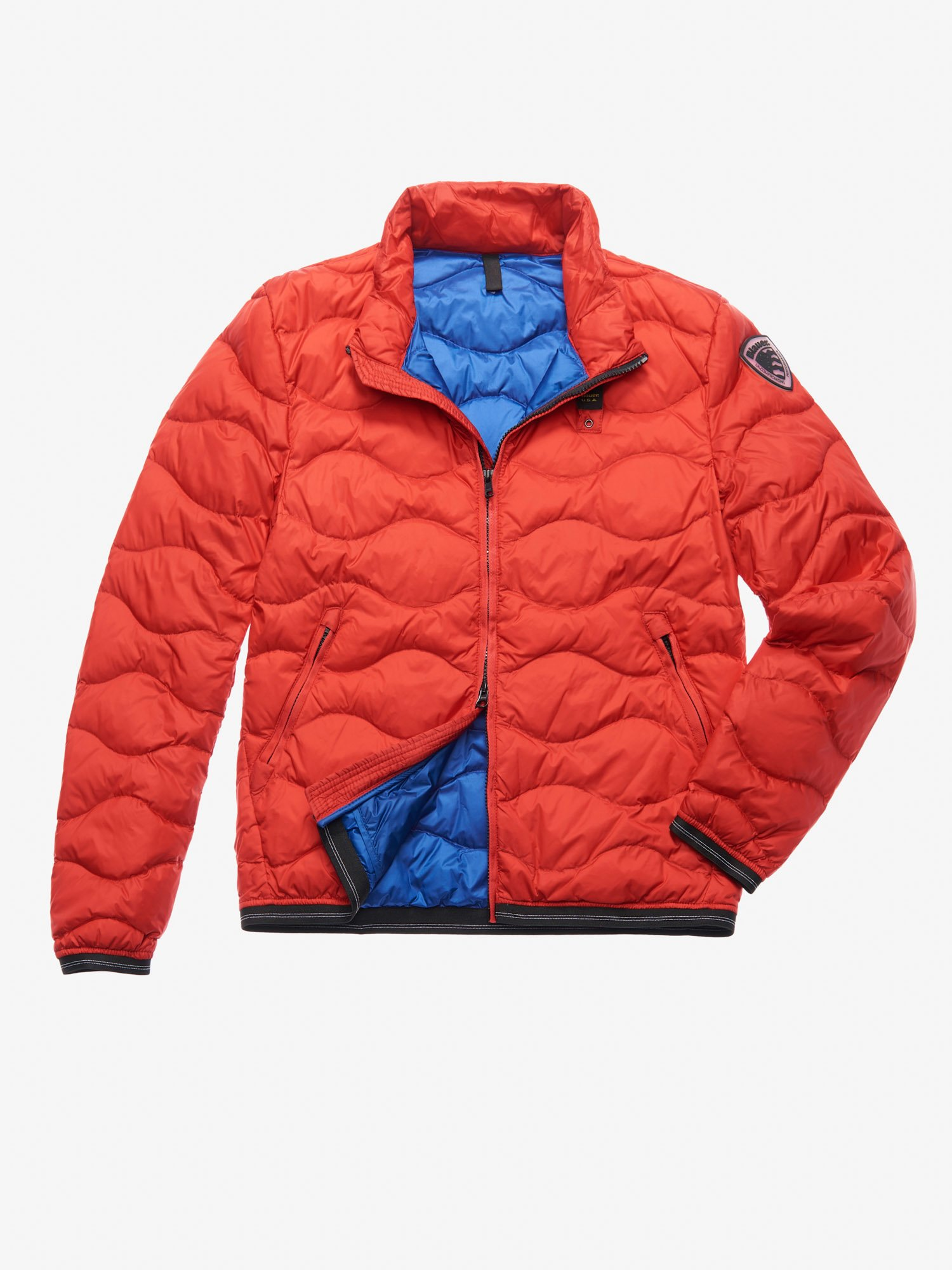 Blauer - HILL WAVE-QUILTED DOWN JACKET - Ginger Red Ins. Blue - Blauer