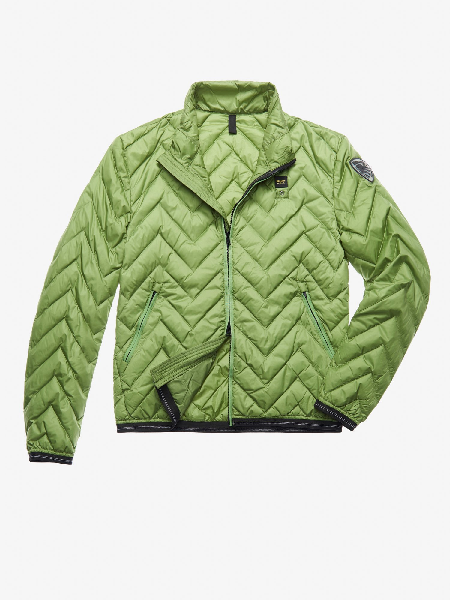 Blauer - SCOTT ZIG ZAG-QUILTED DOWN JACKET - Green Pea - Blauer