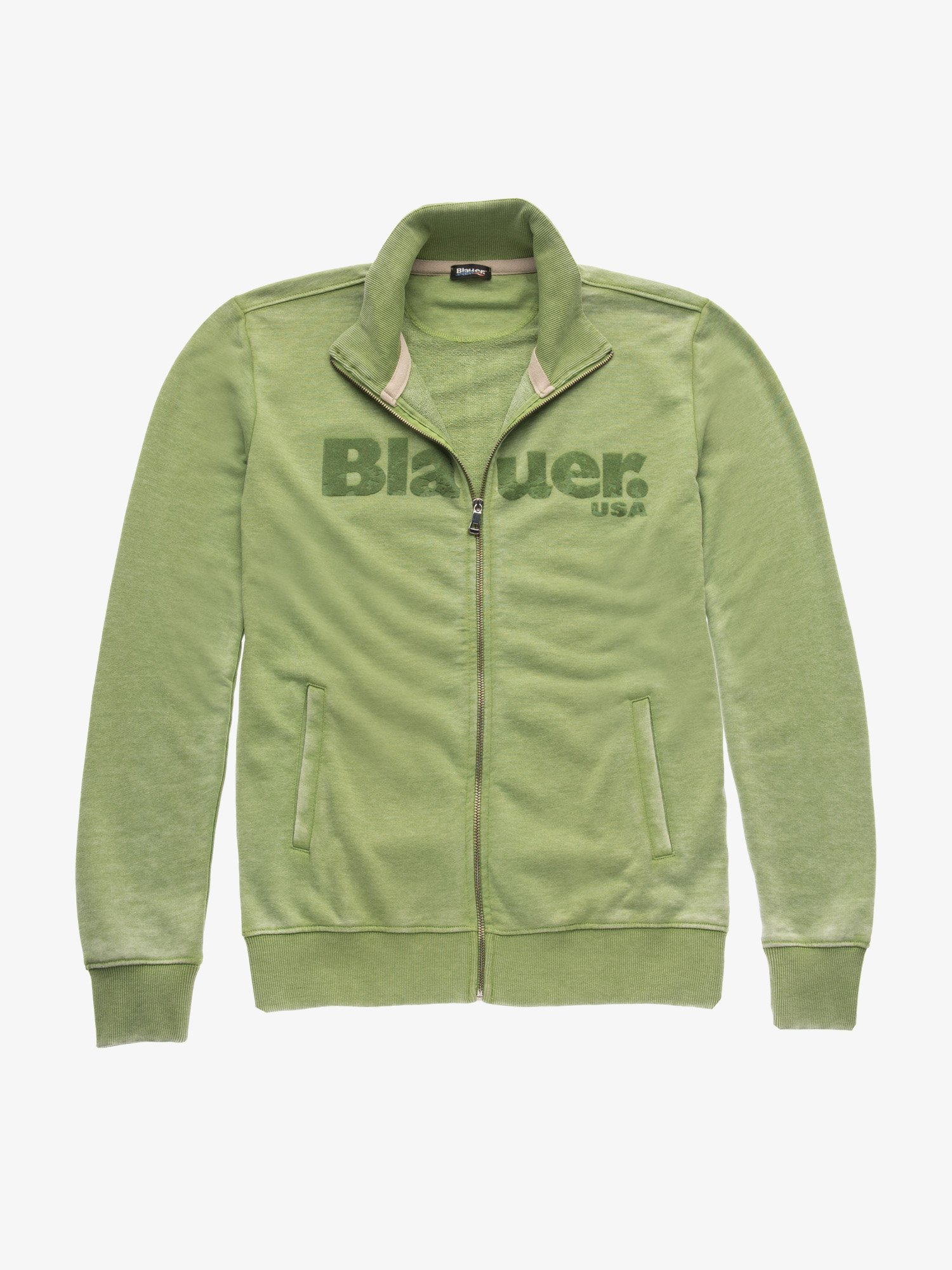 Blauer - OPEN ZIP SWEATSHIRT WITHOUT HOOD - Green Pea - Blauer
