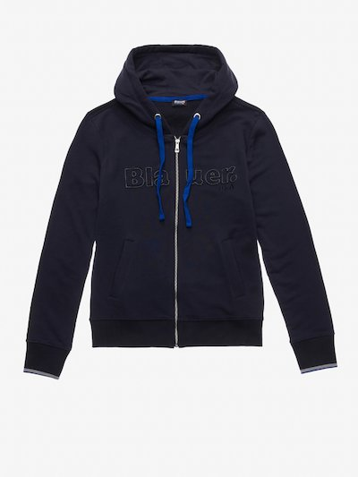 OPEN HOODED SWEATSHIRT WITH BICOLOUR SLEEVE EDGES