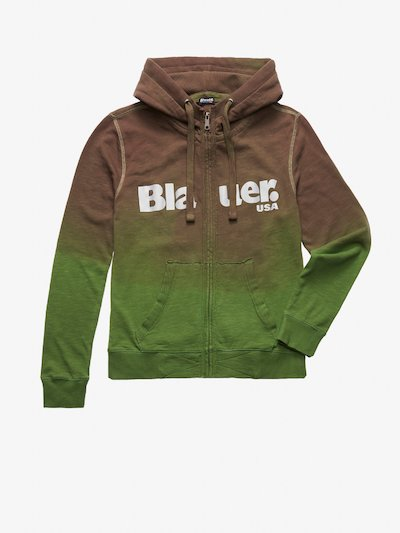 OPEN HOODED SHAHED SWEATSHIRT WITH IRIDESCENT PRINT