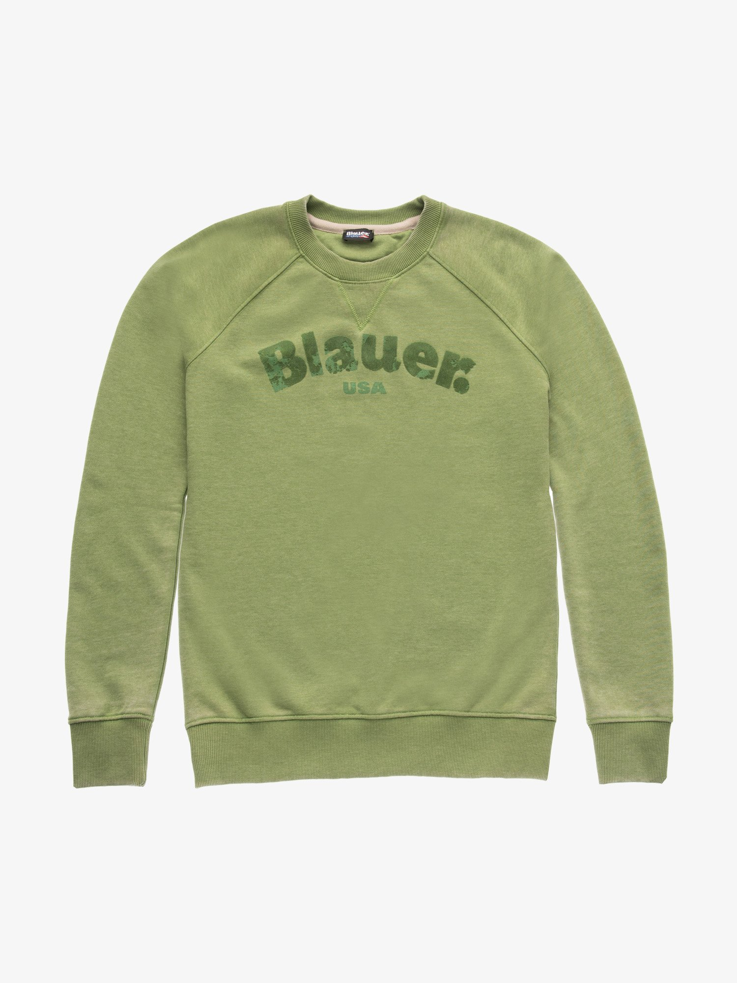 Blauer - BURNOUT CREW NECK SWEATSHIRT - Green Pea - Blauer