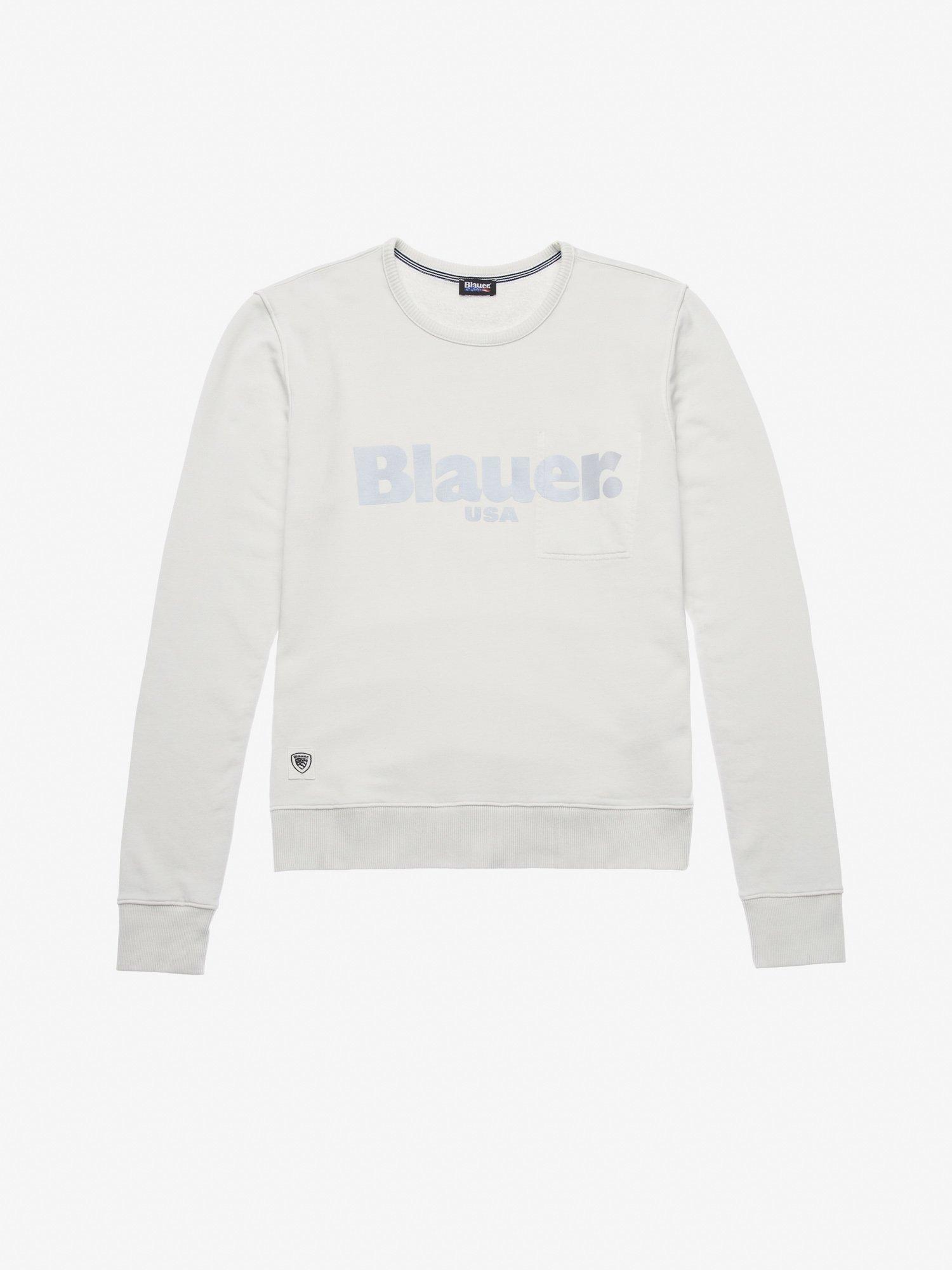 Blauer - GARMENT DYED CREWNECK SWEATSHIRT - Ivory - Blauer