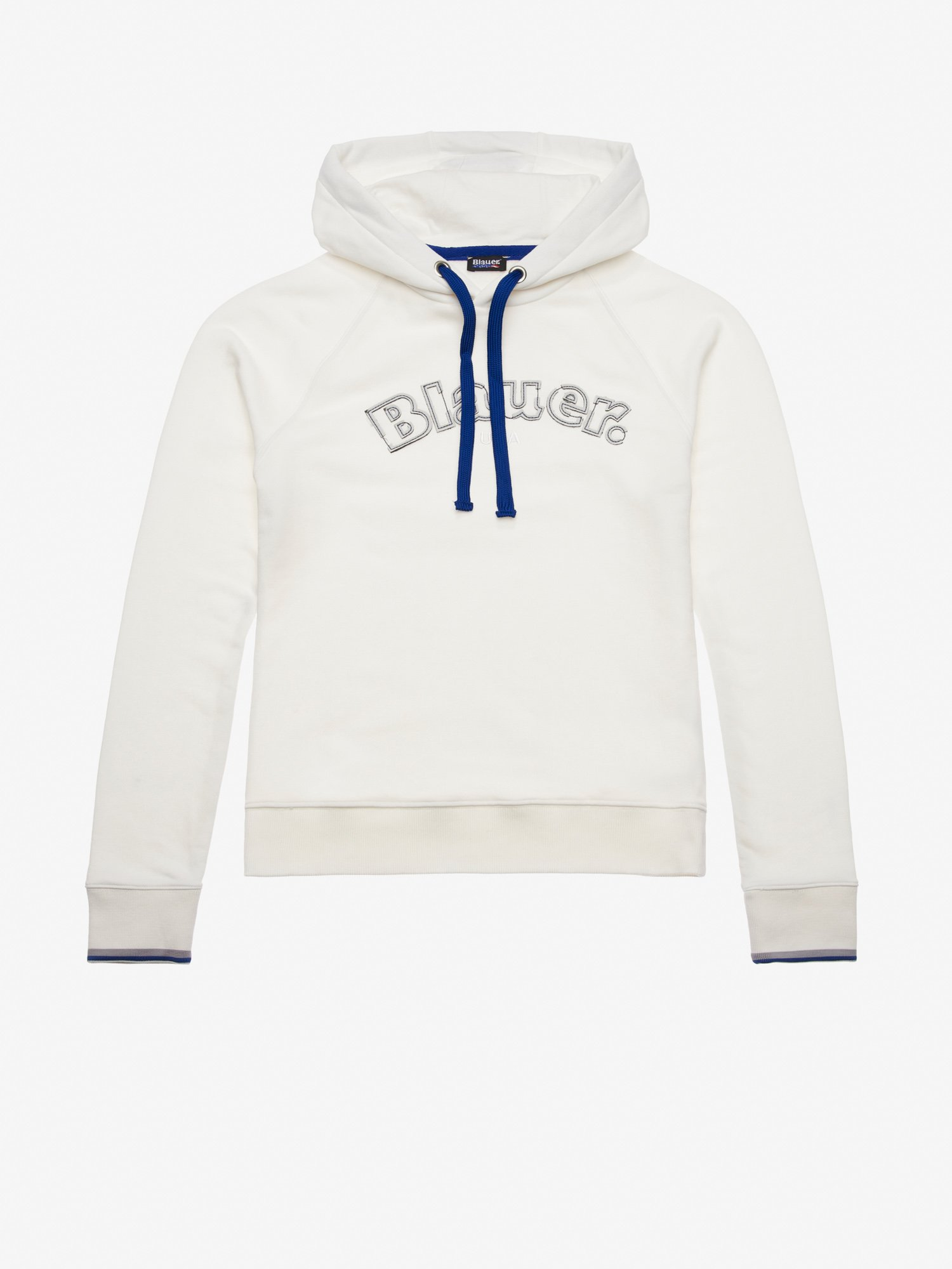 Blauer - HOODED SWEATSHIRT WITH CONTRASTING COLOUR DETAILS - Ivory - Blauer