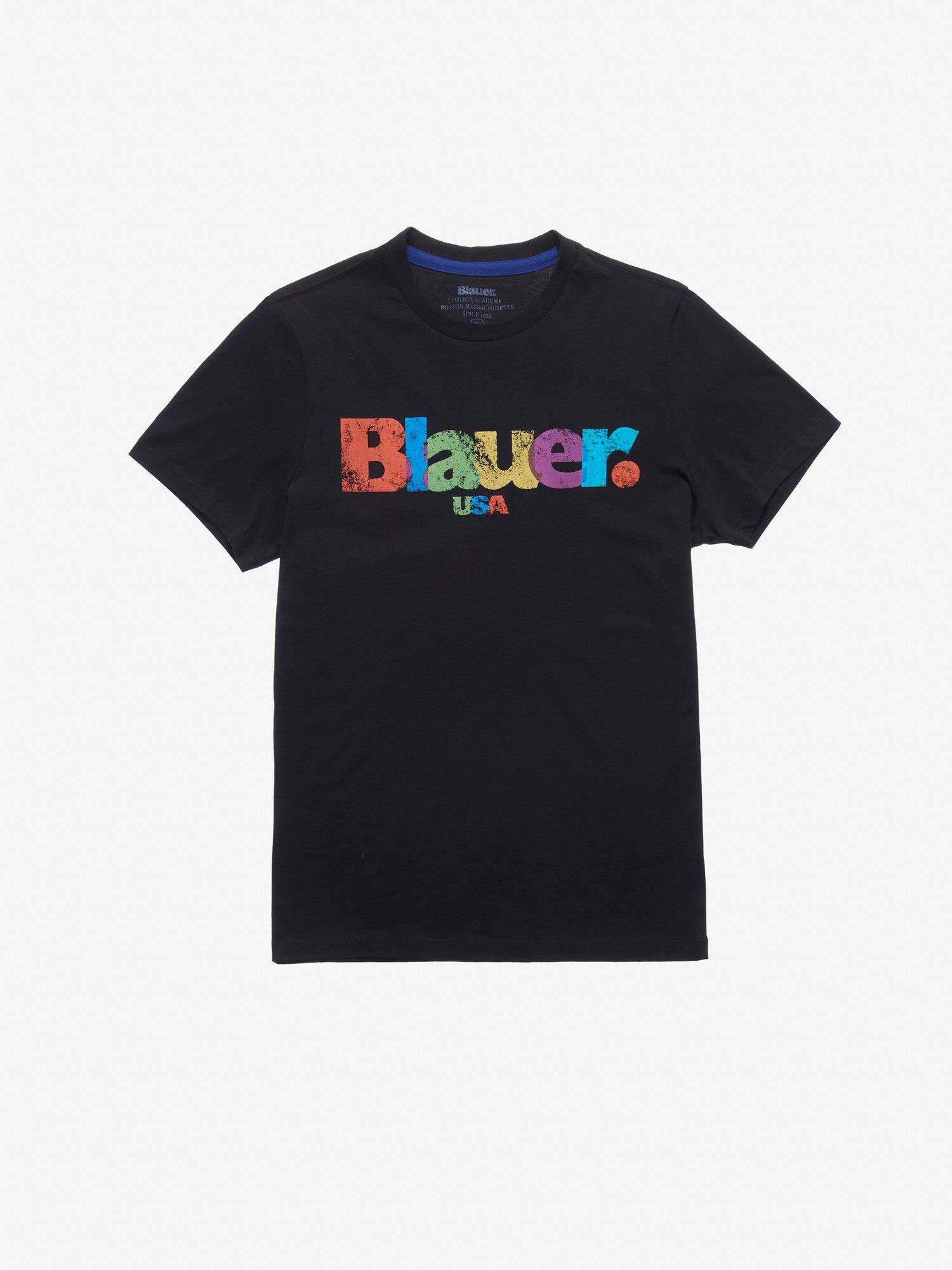 T-SHIRT MEHRFARBIGER AUFDRUCK - Blauer