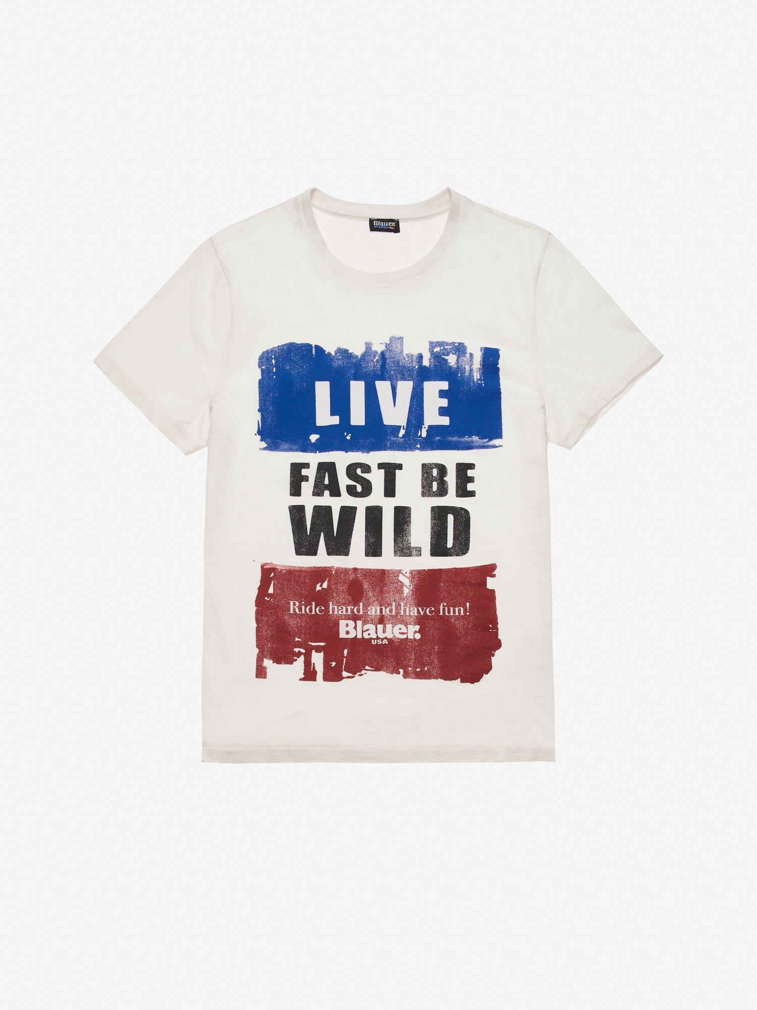 9a012e38 Blauer - LIVE FAST BE WILD T-SHIRT - Ivory - 1 ...