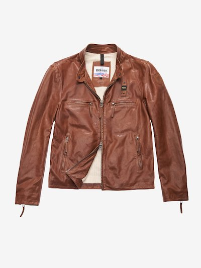 JOHNSON DIRTY-EFFECT LEATHER JACKET