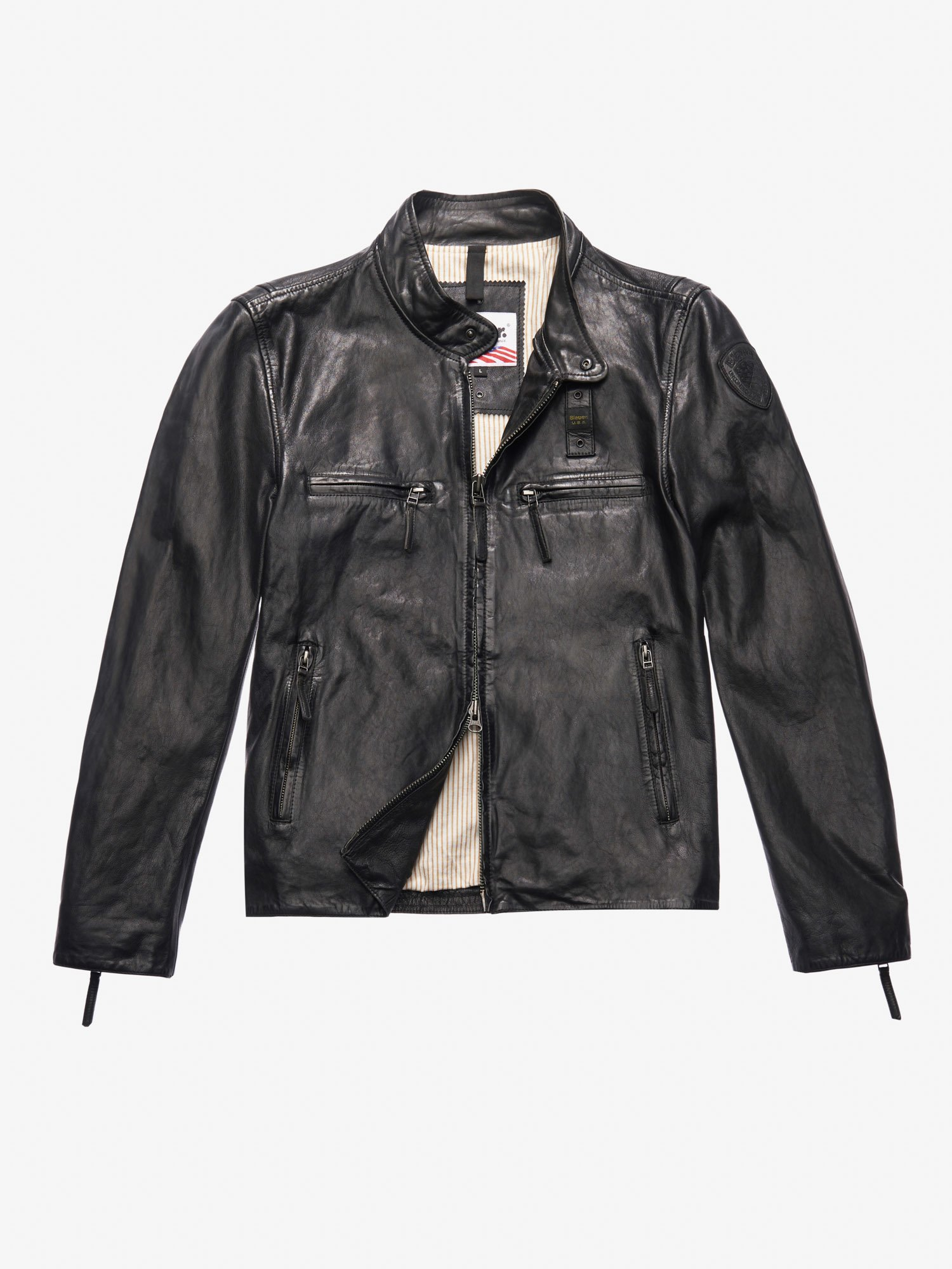 JOHNSON DIRTY-EFFECT LEATHER JACKET - Blauer
