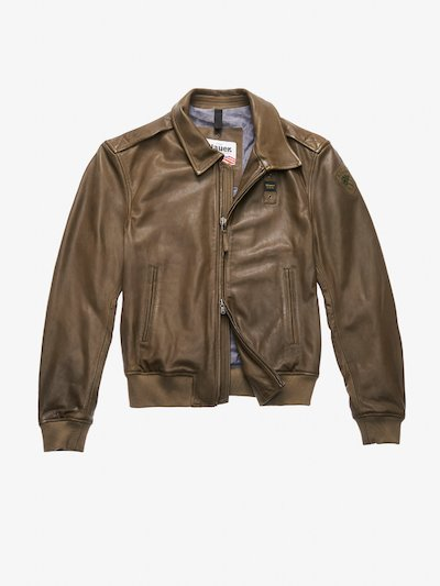 BOMBER IN PELLE CON COLLETTO SMITH