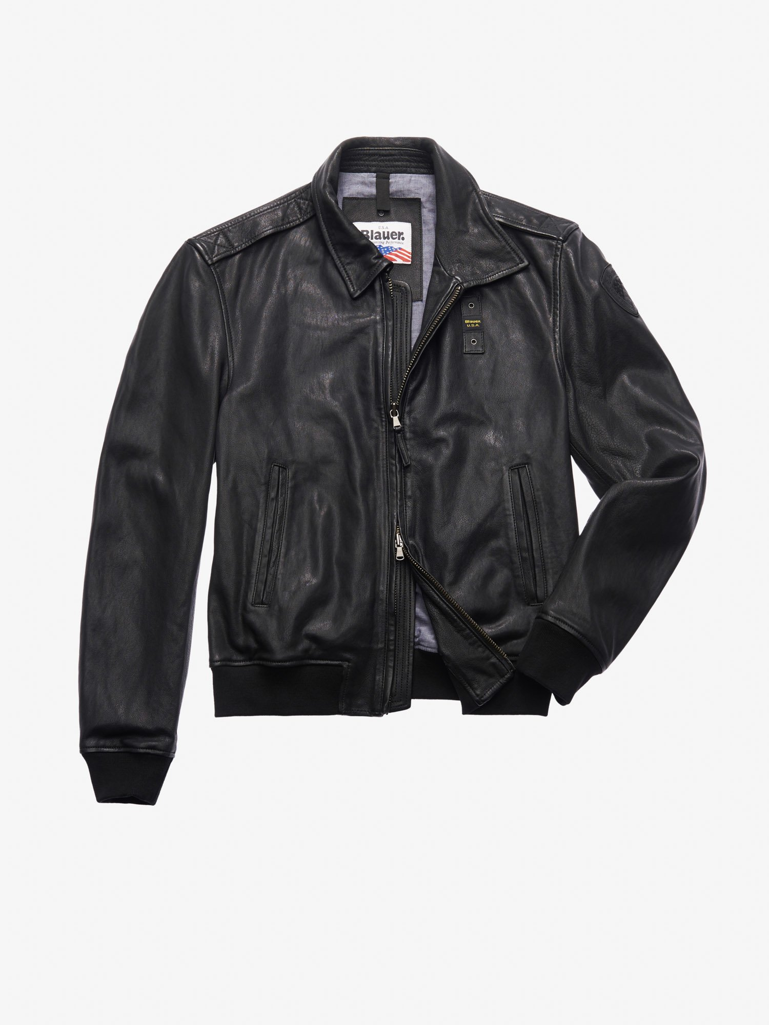 Blauer - SMITH LEATHER BOMBER-STYLE JACKET WITH COLLAR - Black - Blauer