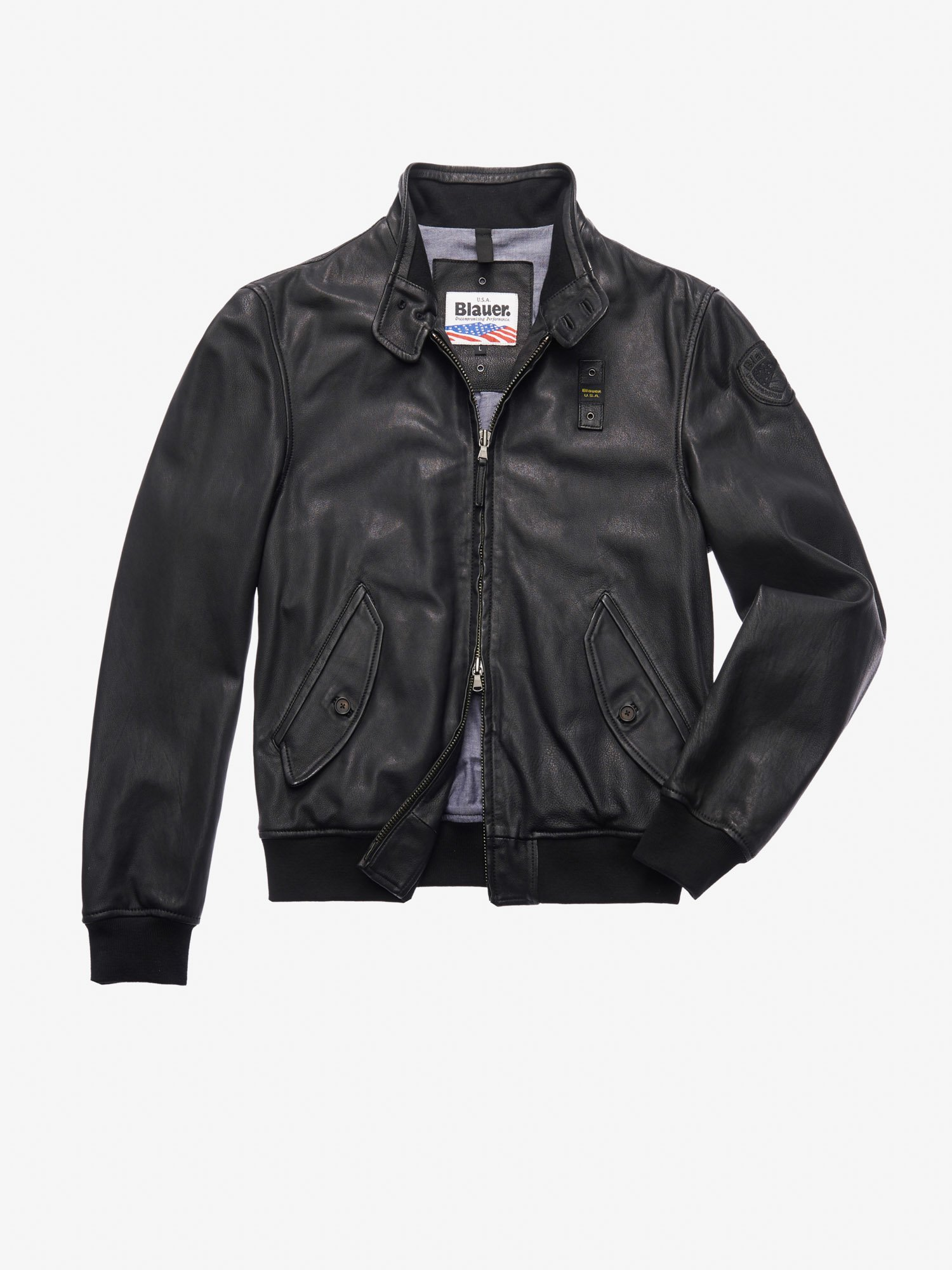 WILLIAMS LEATHER BOMBER-STYLE JACKET WITH COLLAR - Blauer