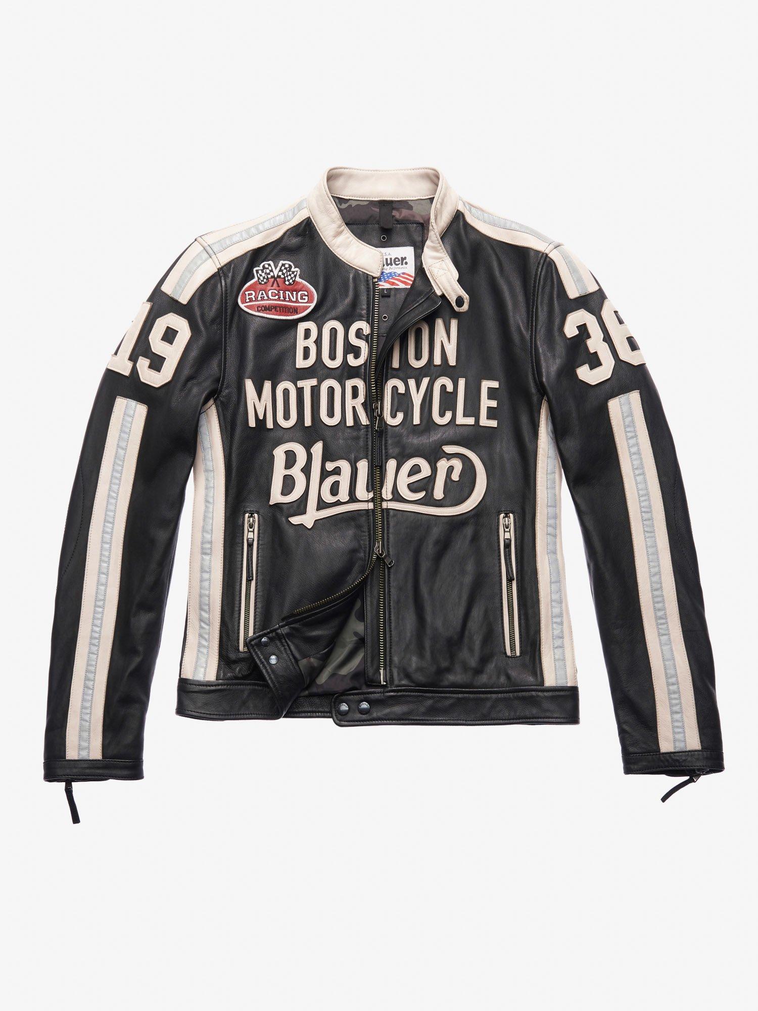 Blauer - THOMAS LEATHER MOTORCYCLE JACKET - Black - Blauer
