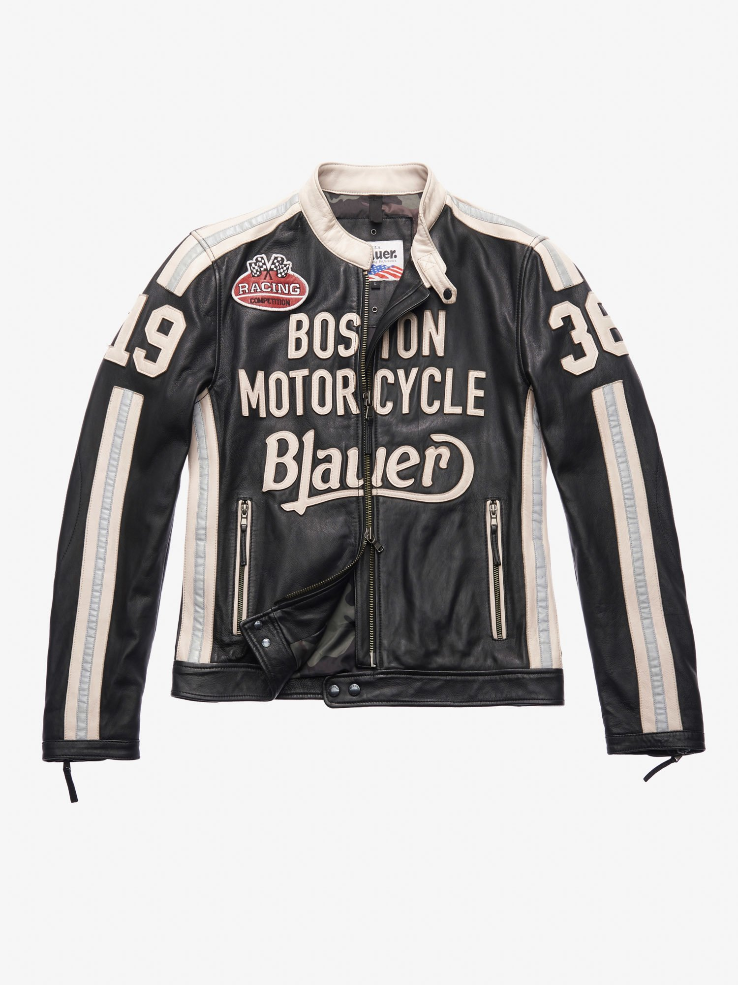 Blauer - THOMAS LEATHER MOTORCYCLE JACKET - Black - Blauer
