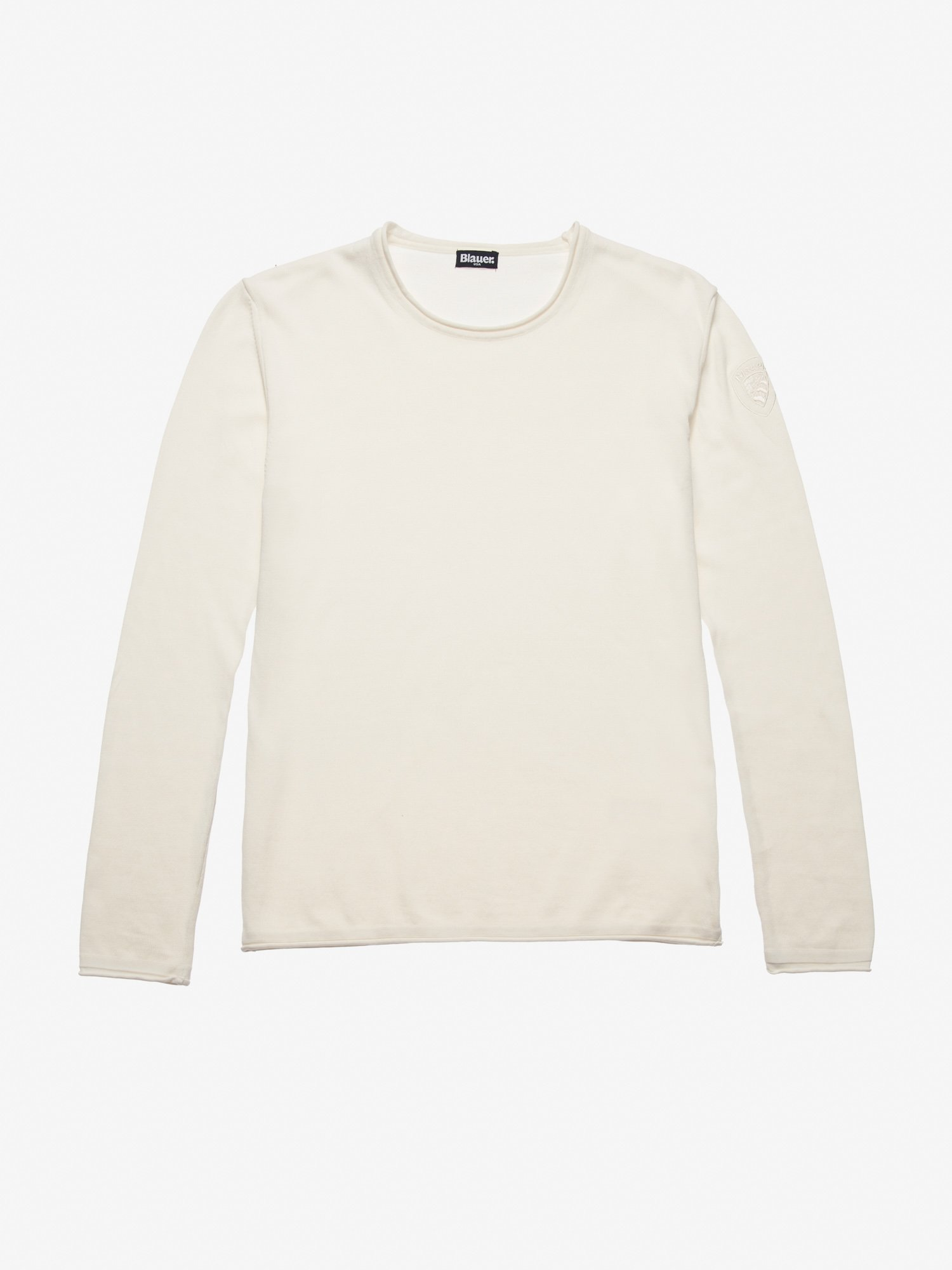 CREW NECK SWEATER WITH BLAUER SHIELD - Blauer