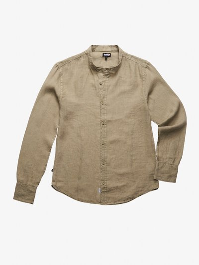 STAND-UP COLLAR LINEN SHIRT
