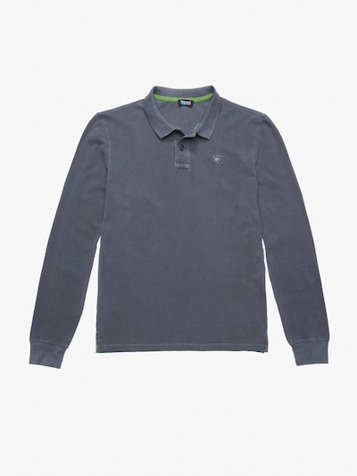 LONG SLEEVE GARMENT DYED COTTON POLO SHIRT