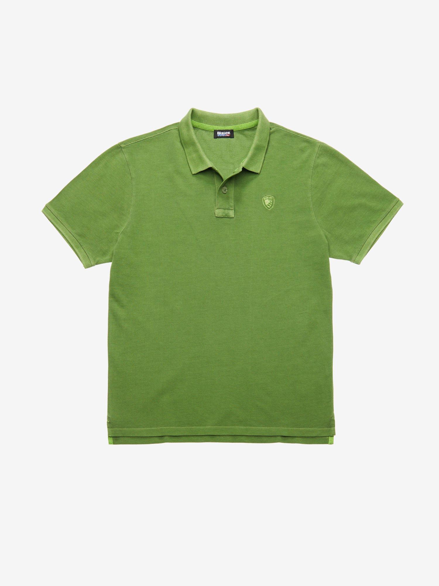 Blauer - SHORT SLEEVE COTTON POLO SHIRT - Green Pea - Blauer