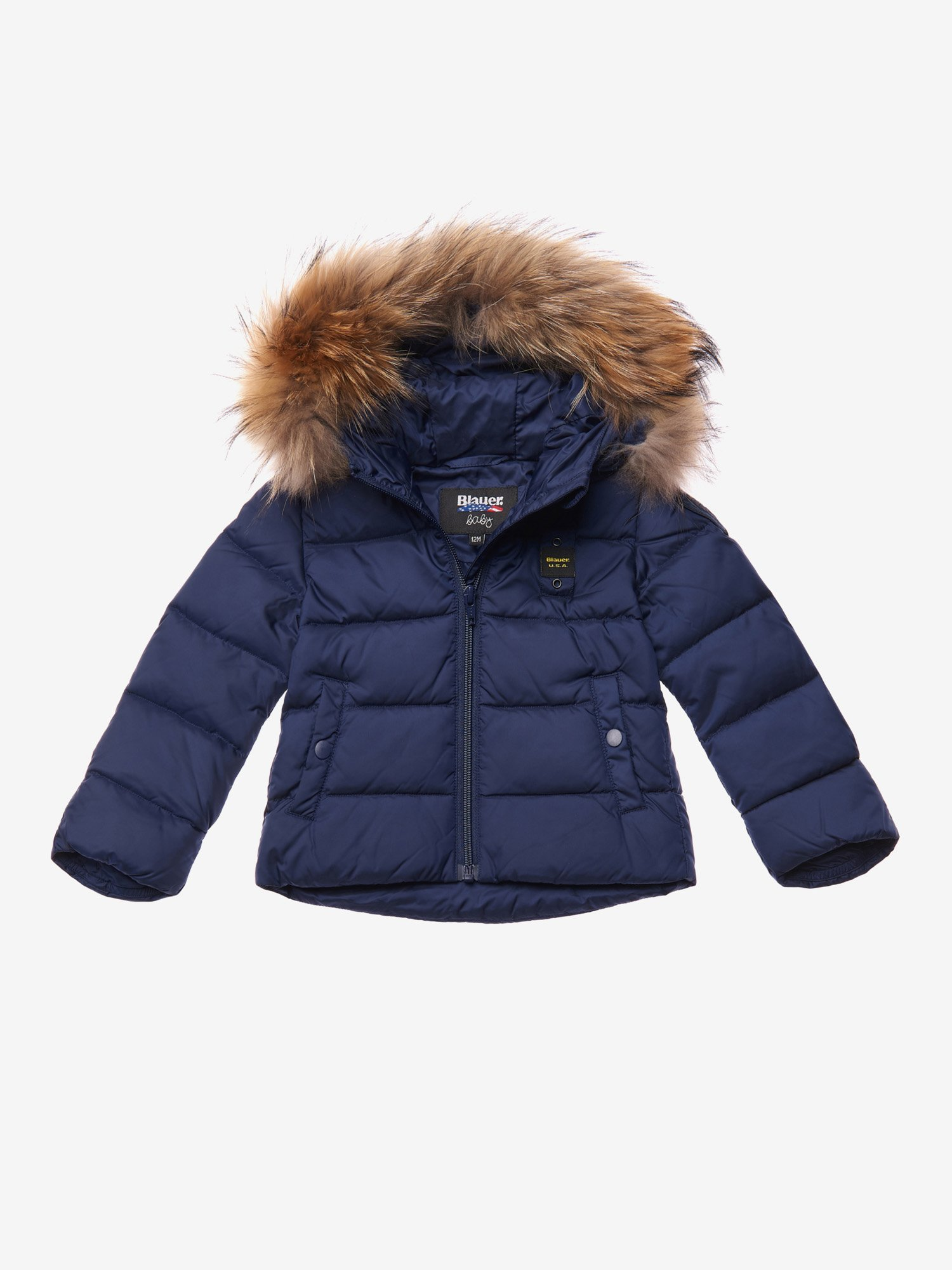 BARRETT BABY DOWN JACKET WITH HOOD AND FUR - Blauer