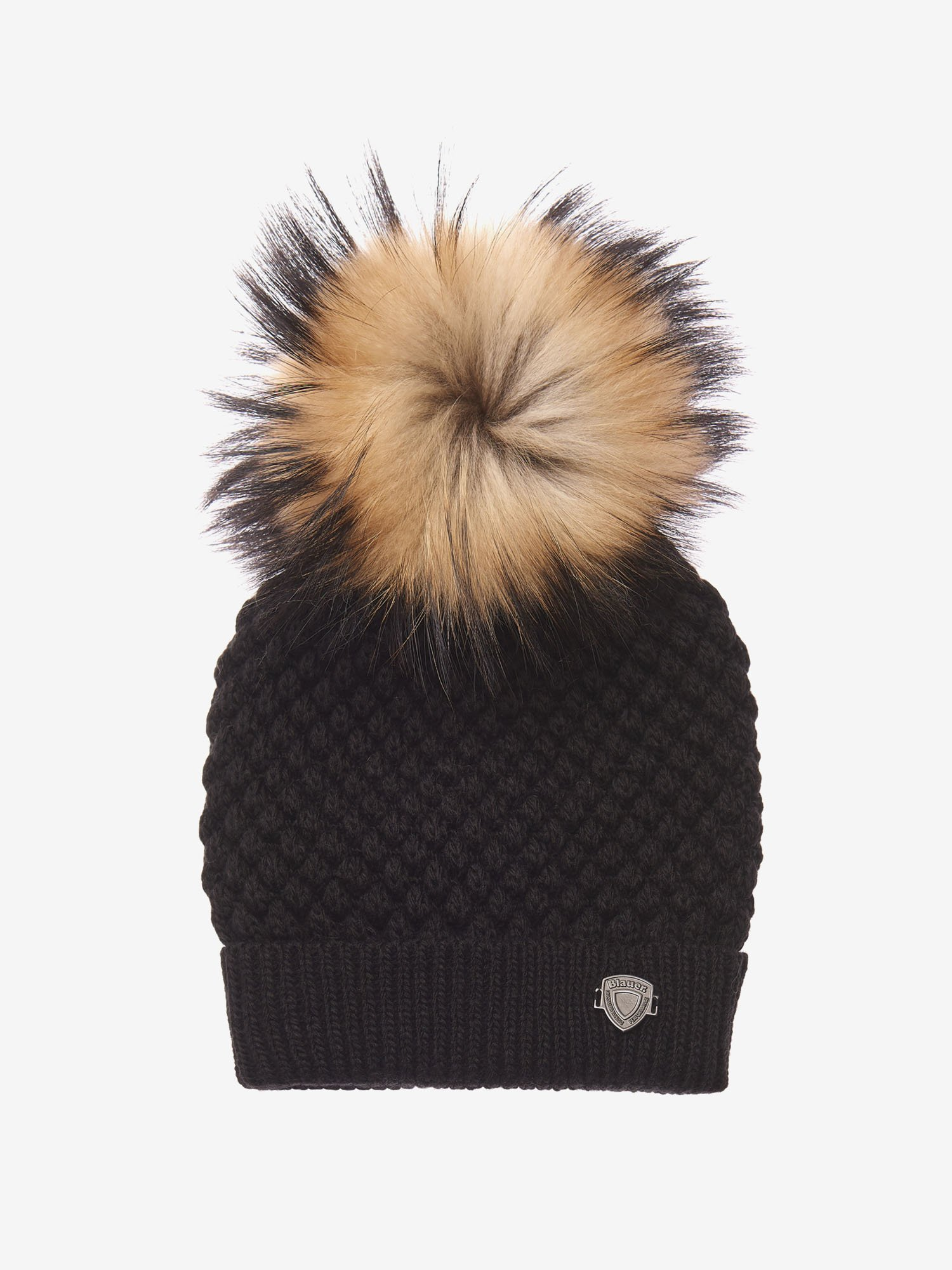 FUR POMPOM KNIT HAT - Blauer