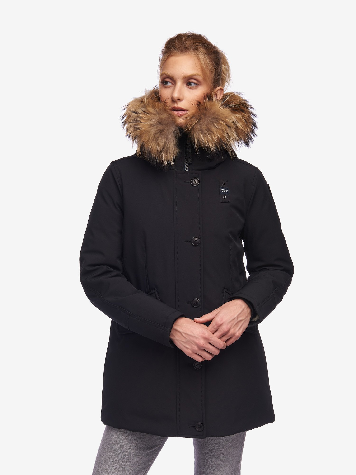 Blauer - WILKINSON NEOPRENE PARKA WITH FUR - Black - Blauer