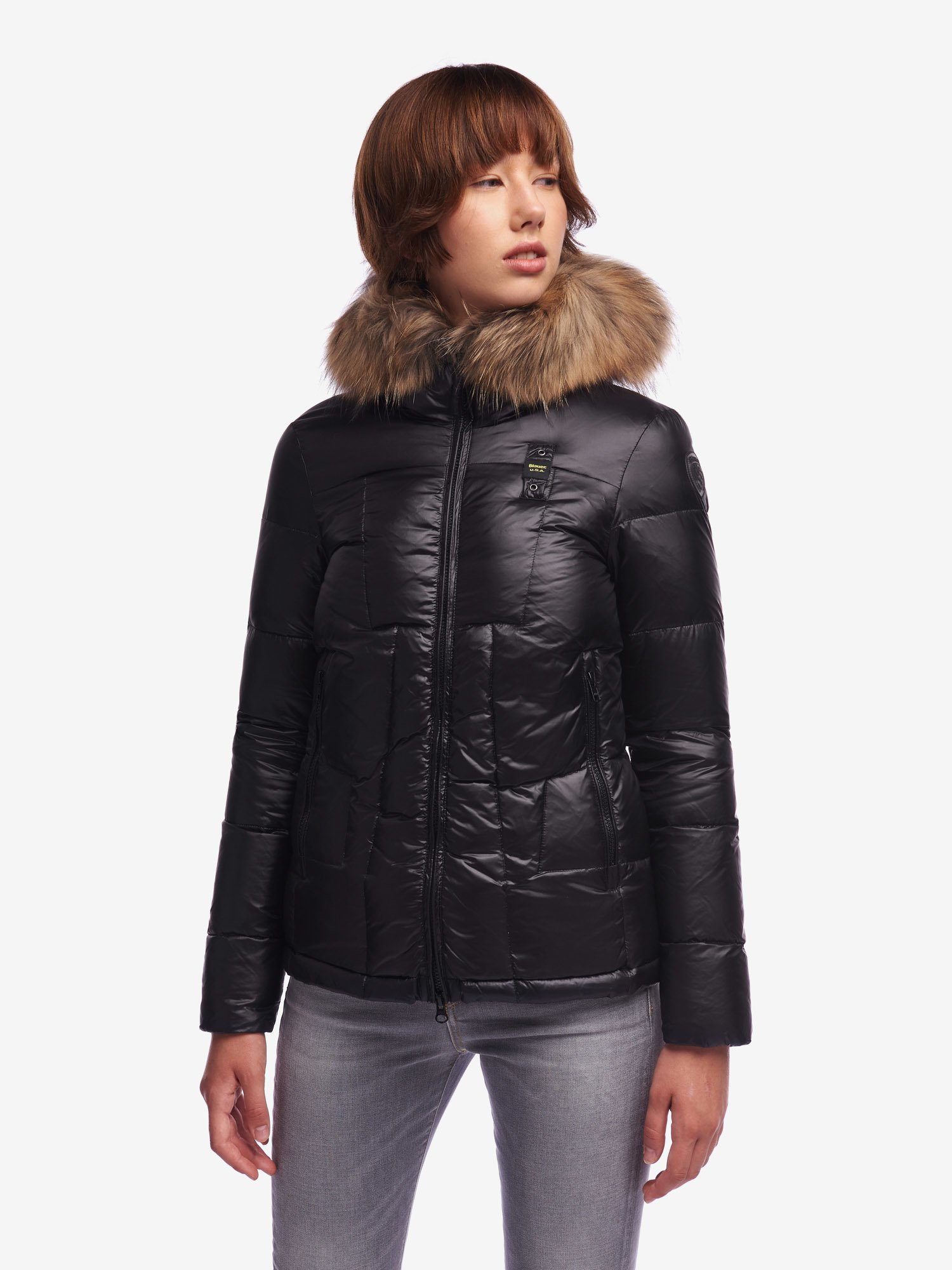 Blauer - HARPER DOWN JACKET WITH FUR - Black - Blauer