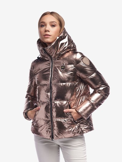 RYAN SHINY METALLIC DOWN JACKET WITH HOOD