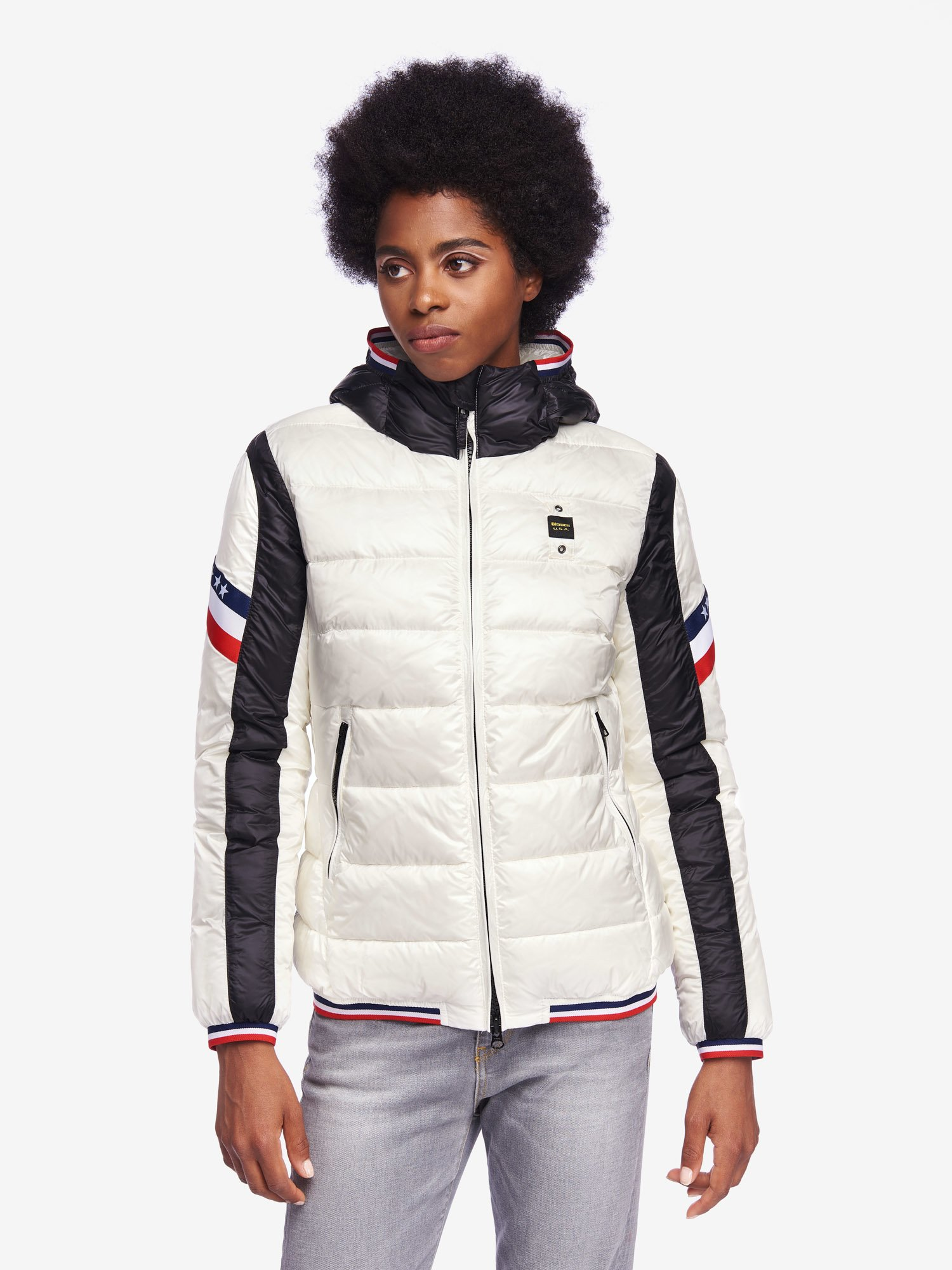 Blauer - GARDNER BICOLOUR NYLON DOWN JACKET - Snow White - Blauer