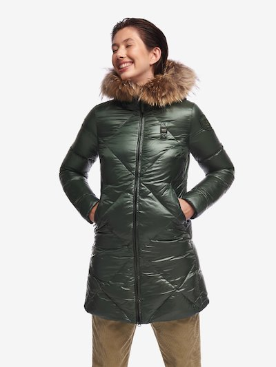 CUNNINGHAM LONG DOWN JACKET IN IRIDESCENT NYLON